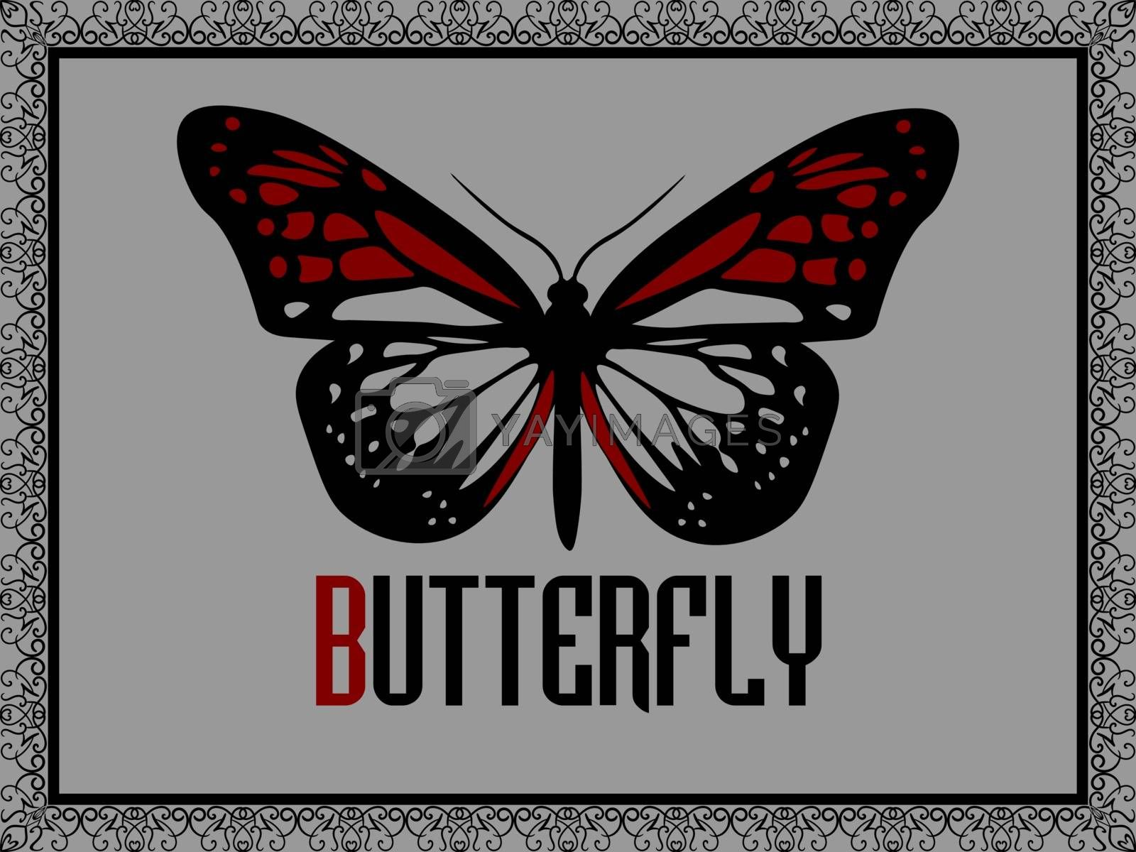Realistic red butterfly in black elegant ornate frame on grey background