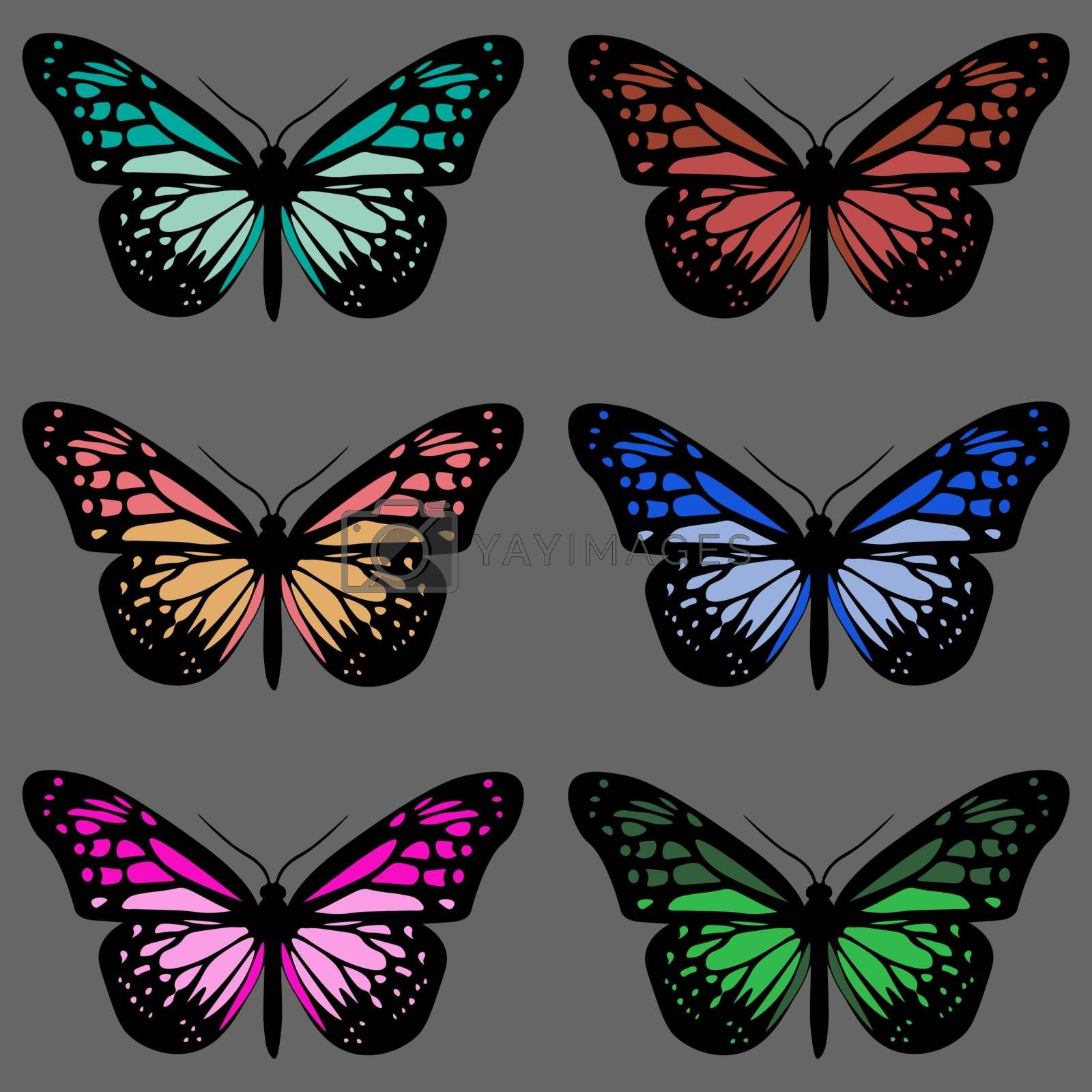 Seamless pattern with six realistic colorful butterflies on grey background