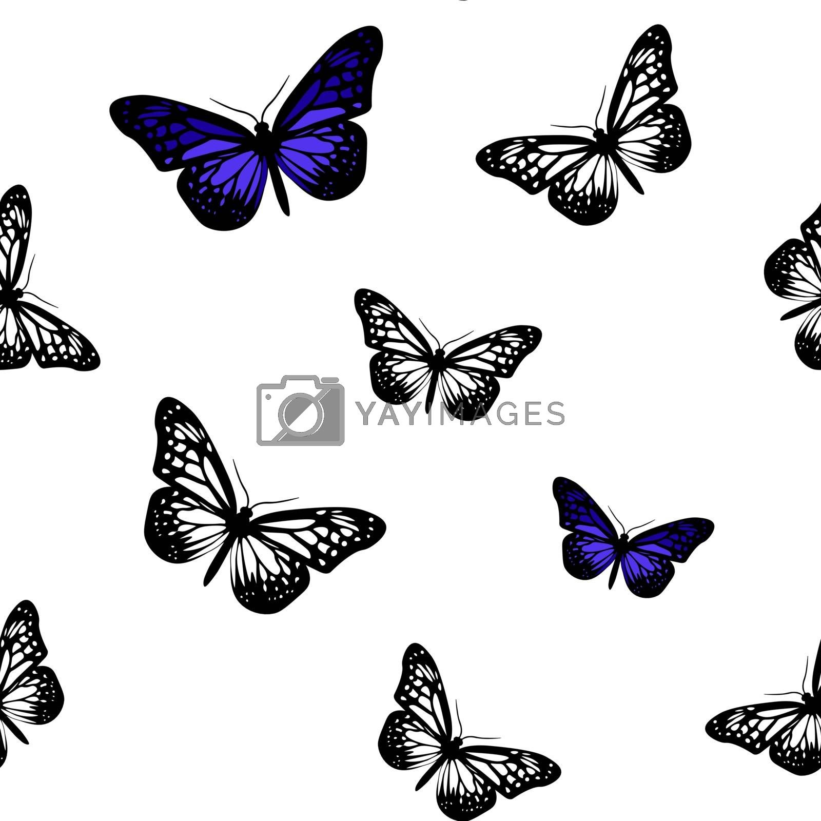 Seamless pattern with realistic white and blue butterflies on white background