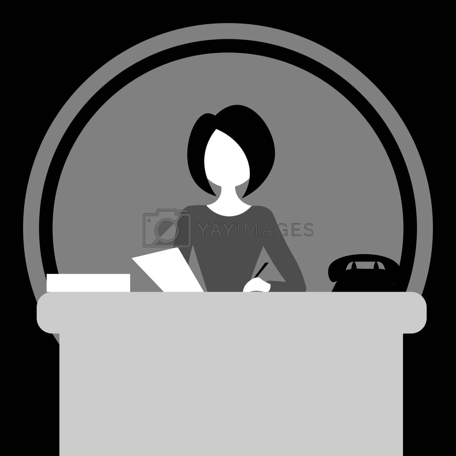 Monochrome faceless cartoon vintage woman sitting at the table and writing in the office