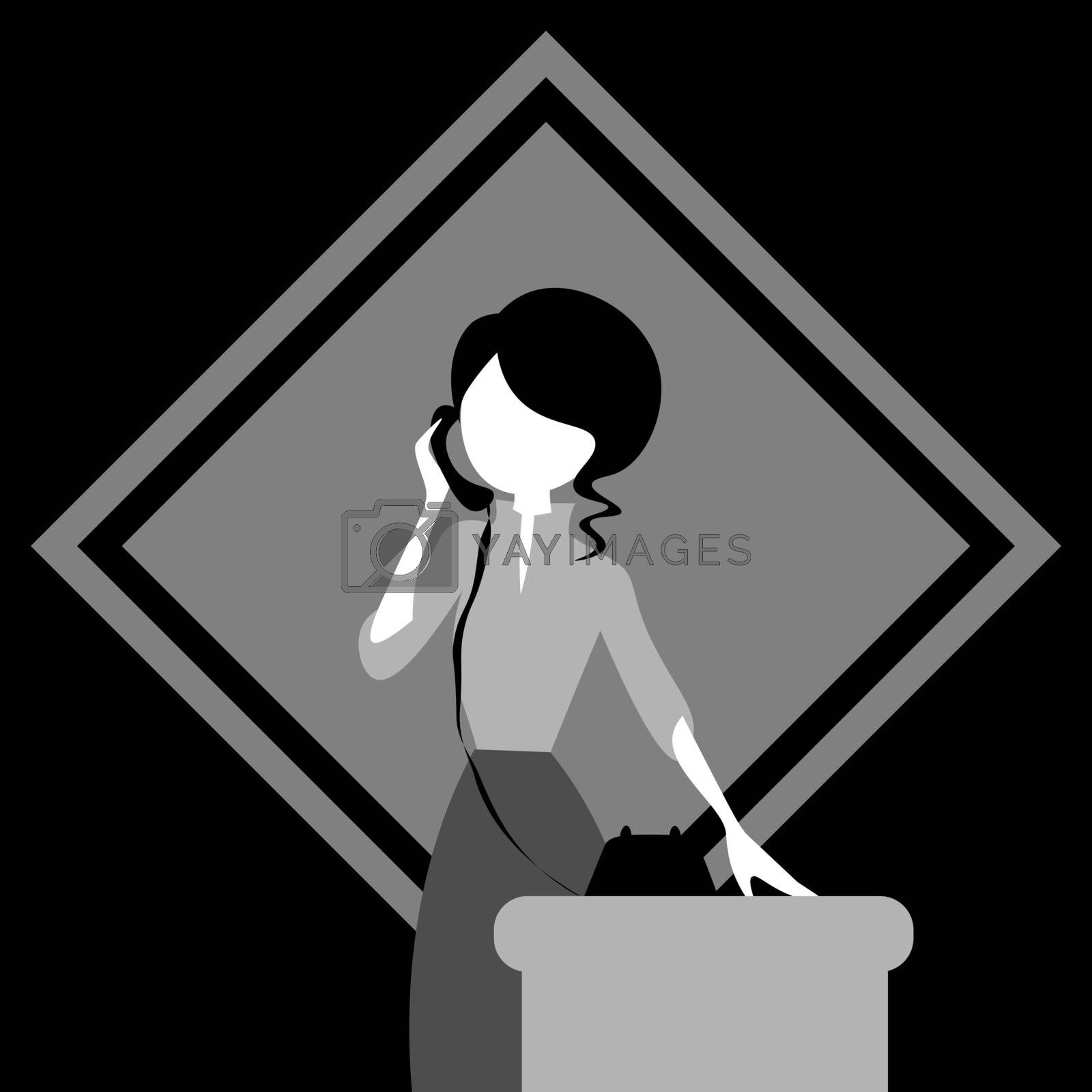 Monochrome faceless cartoon vintage woman talking on the telephone in the office