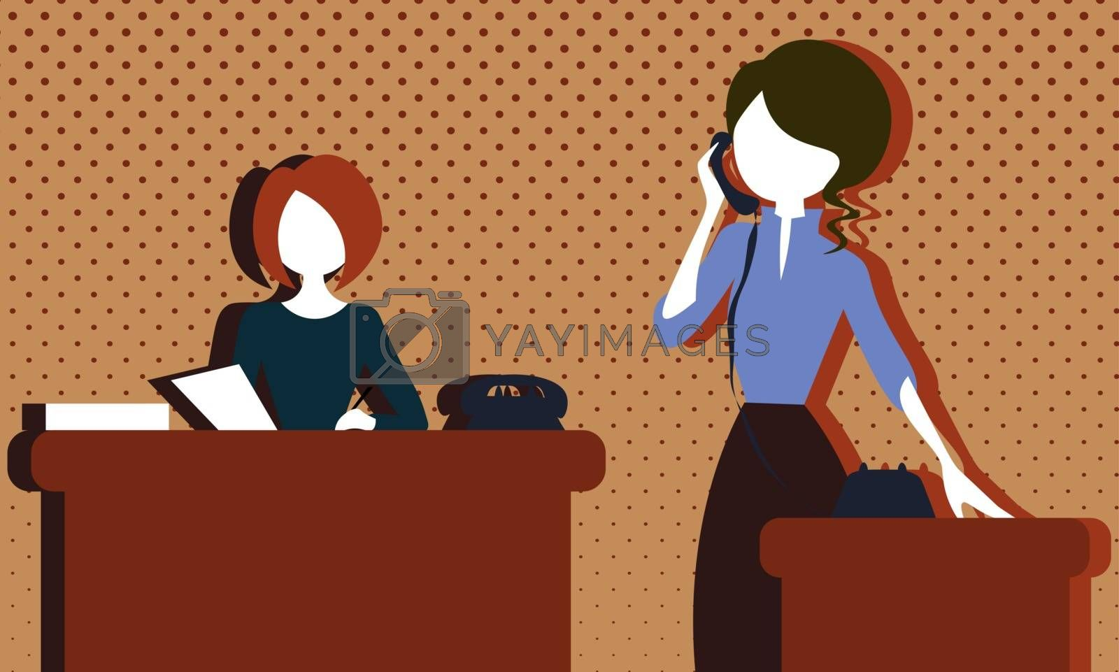 Two colorful faceless cartoon vintage women in the old-fashioned office