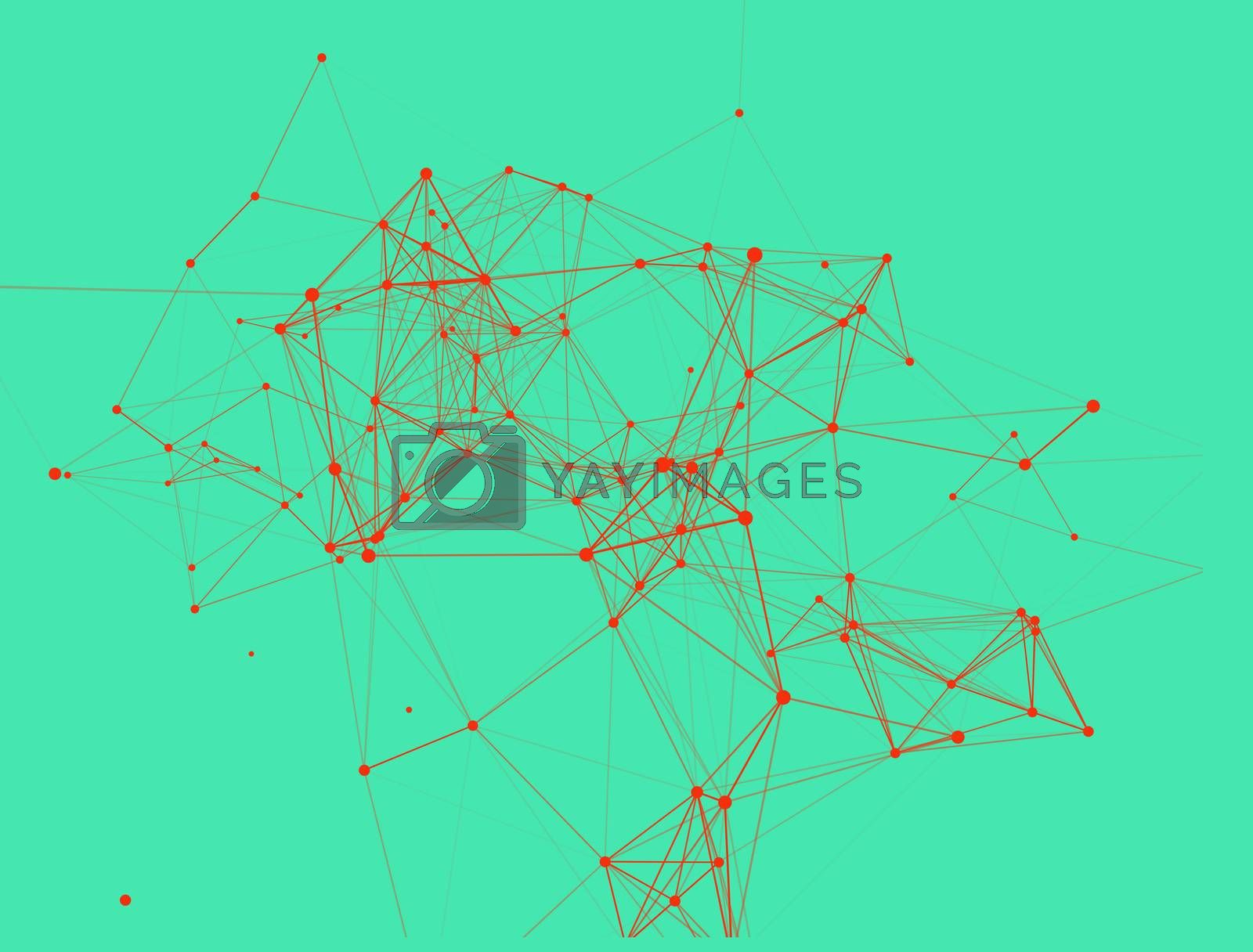 Trendy line art icon with red dots and line dots on green background. Decorative backdrop. Business concept. Abstract geometric pattern. Black design element. Trendy decor.