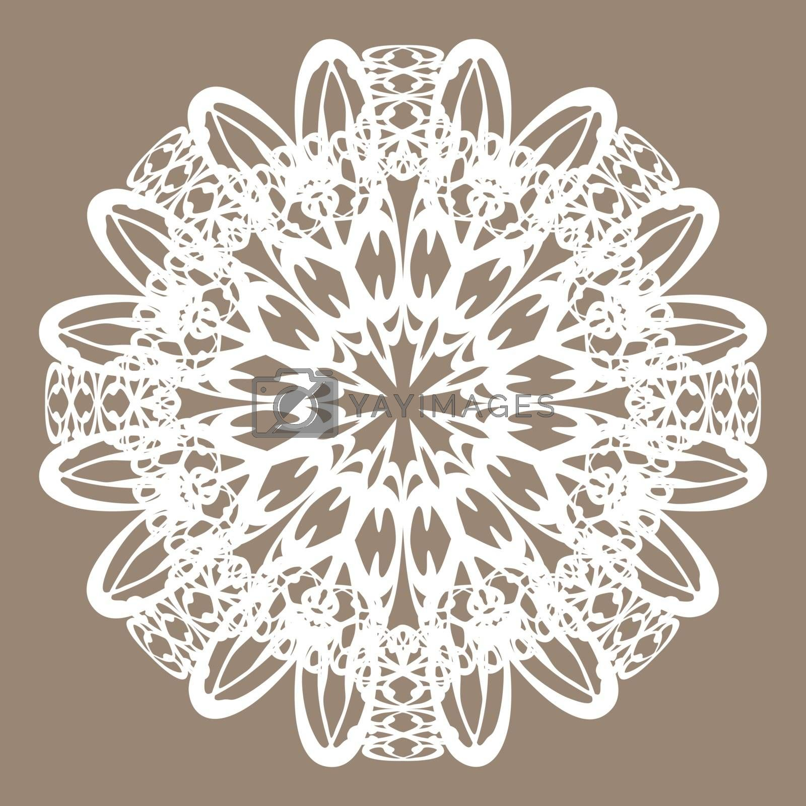 Ornate white lace madnala or vintage doily on beige background