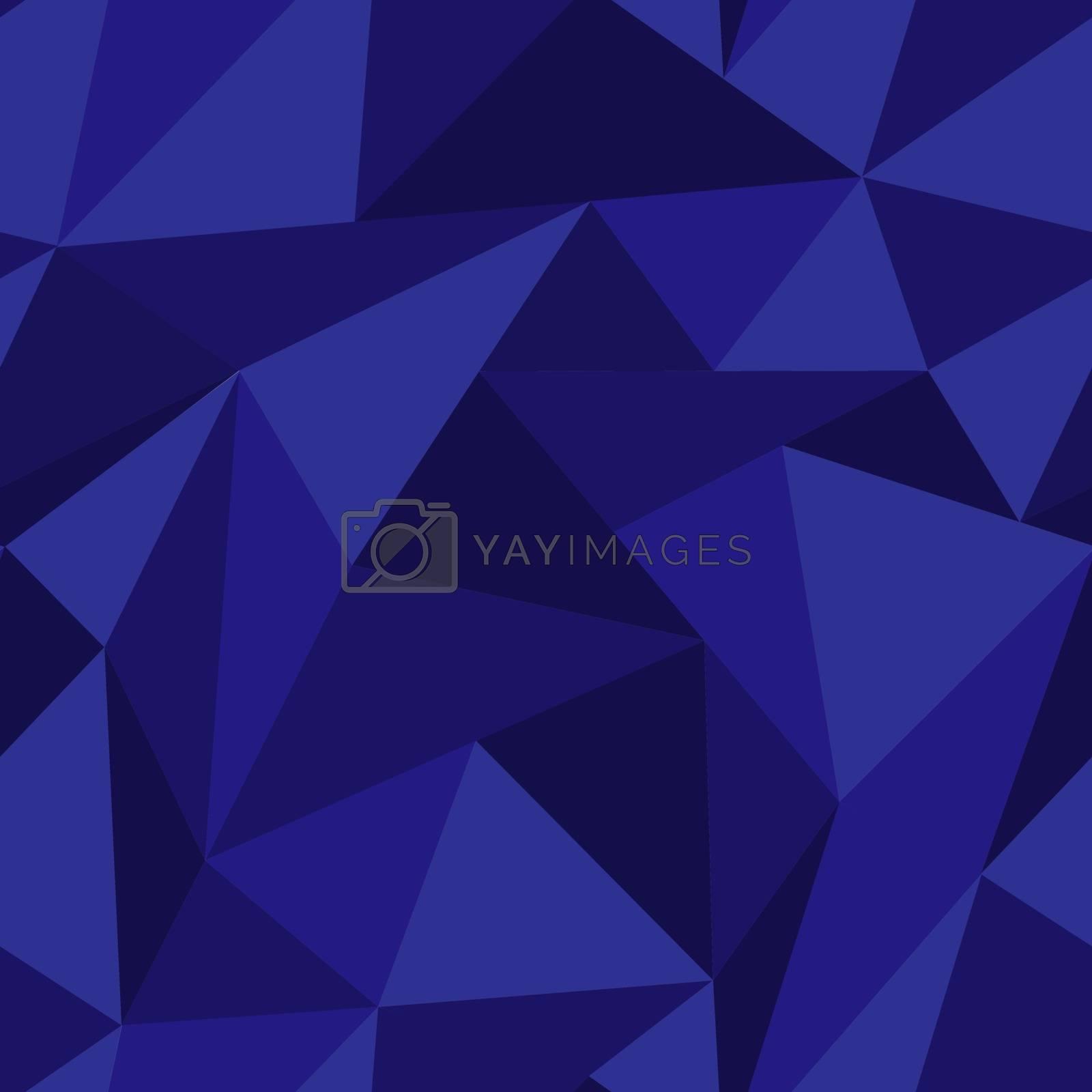 Techno seamless pattern with mosaic of random dark blue triangles
