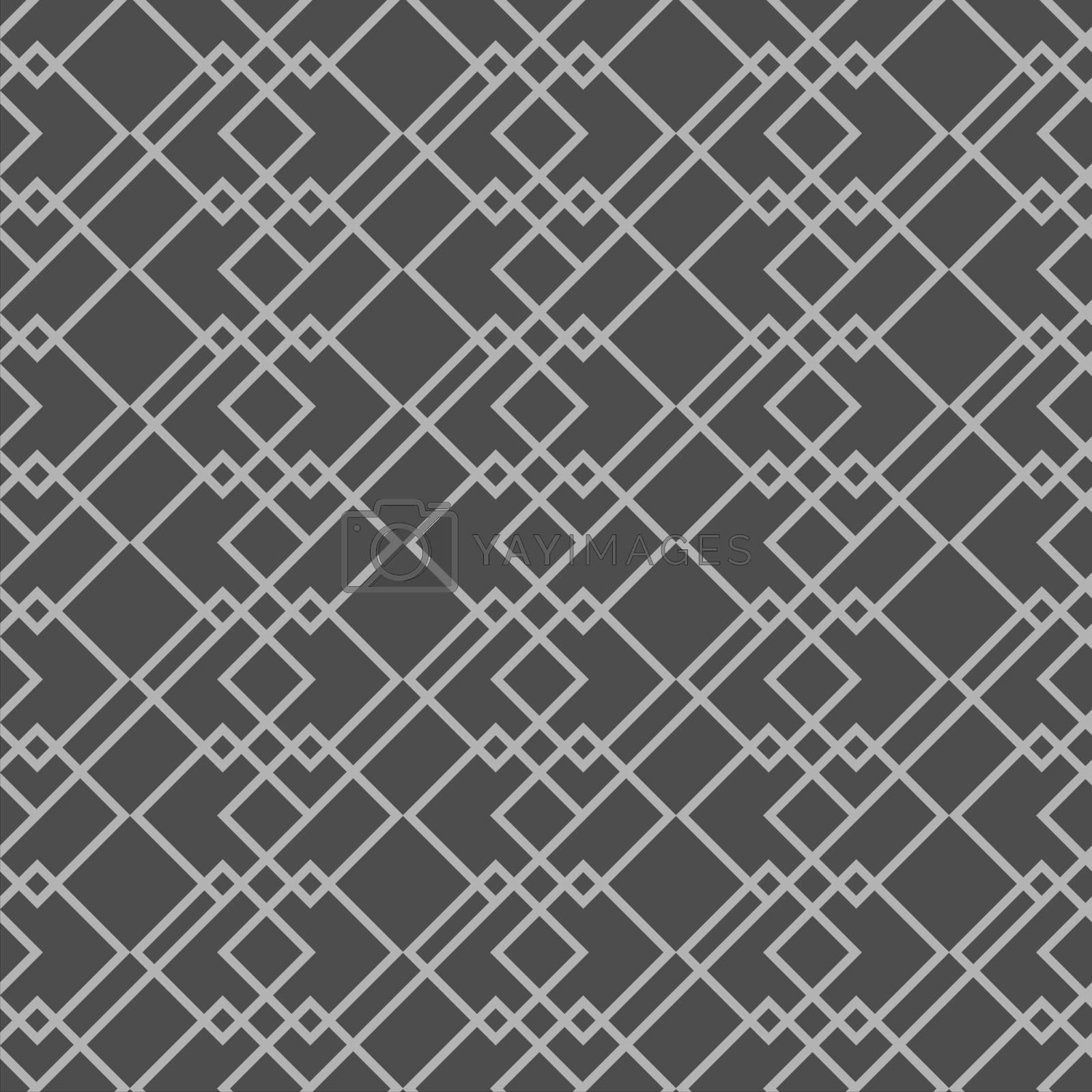Dark mininalistic geometric seamless pattern or wallpaper with grey contour squares