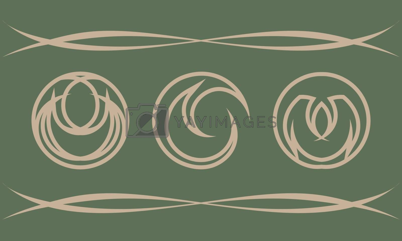 Set of three abstract beige contour fantasy icons on olive background