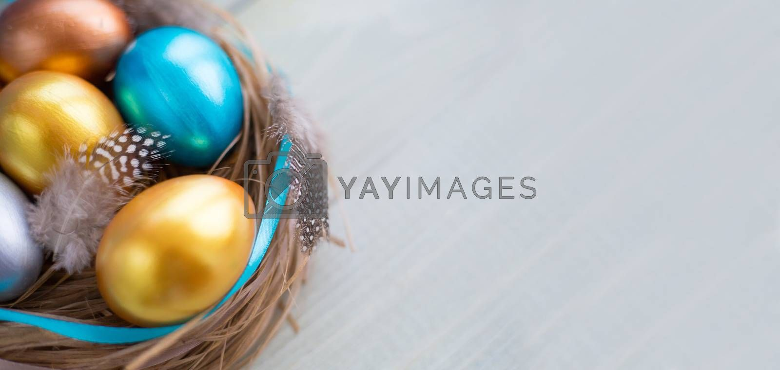 Beautiful Happy Easter holiday greeting banner with easter nest with colored eggs and decorated with ribbons and feathers over light wooden background with copy space for text