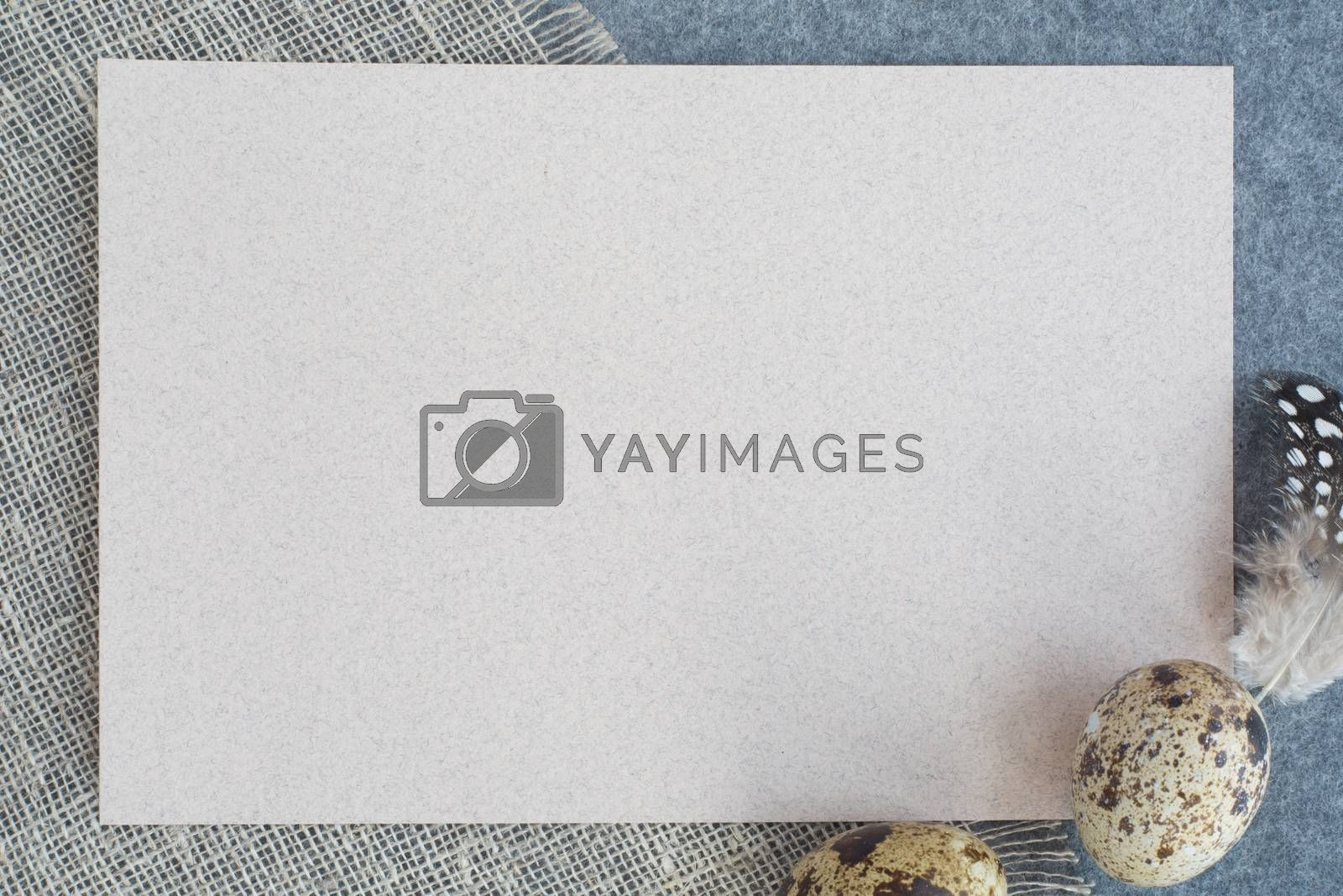 Easter greeting card with copy space for text and beautiful decor of eggs and feathers on fabric background pastel colored template for design
