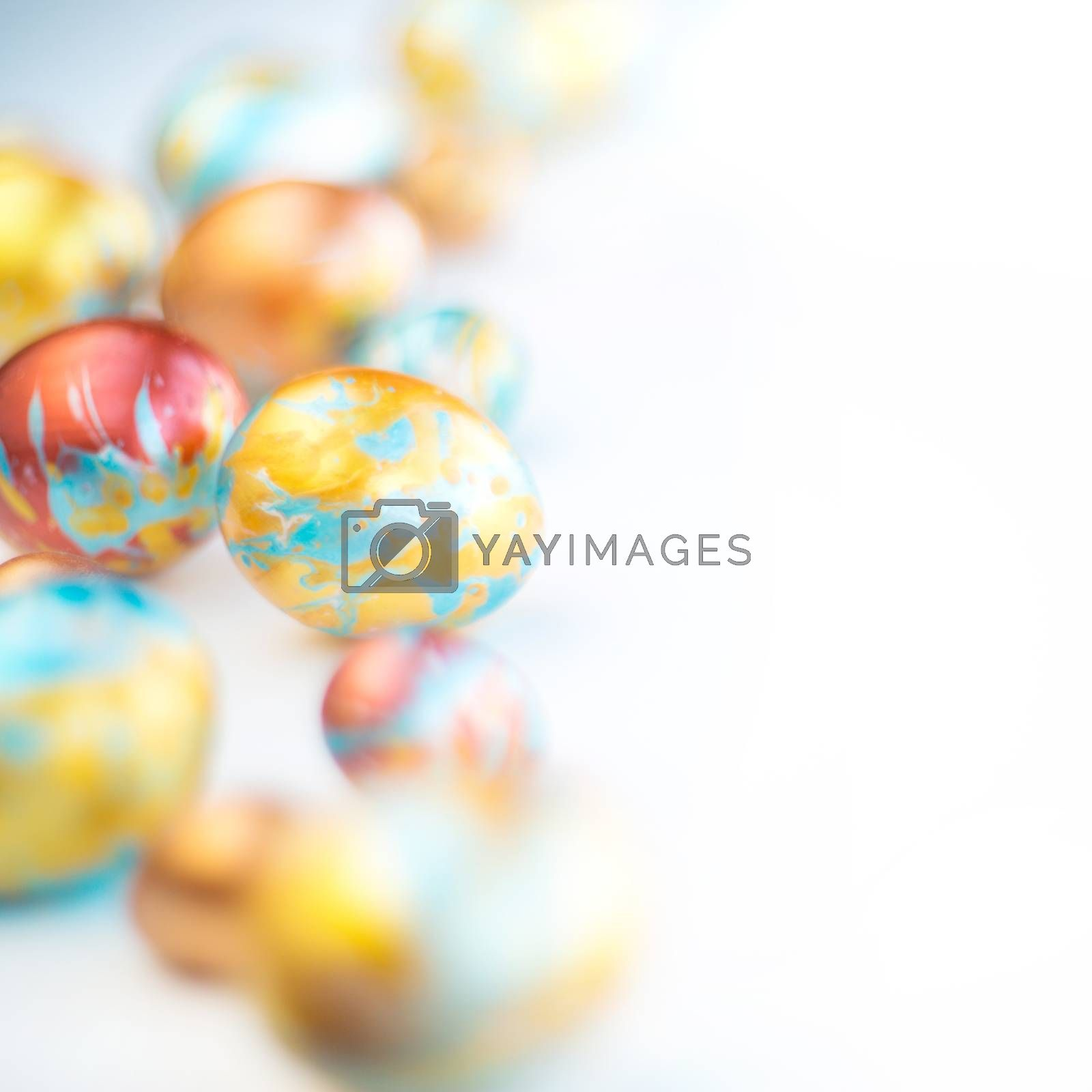 Perfect colorful handmade easter eggs isolated on white background , shape of border frame corner with copy space for text content , happy easter card