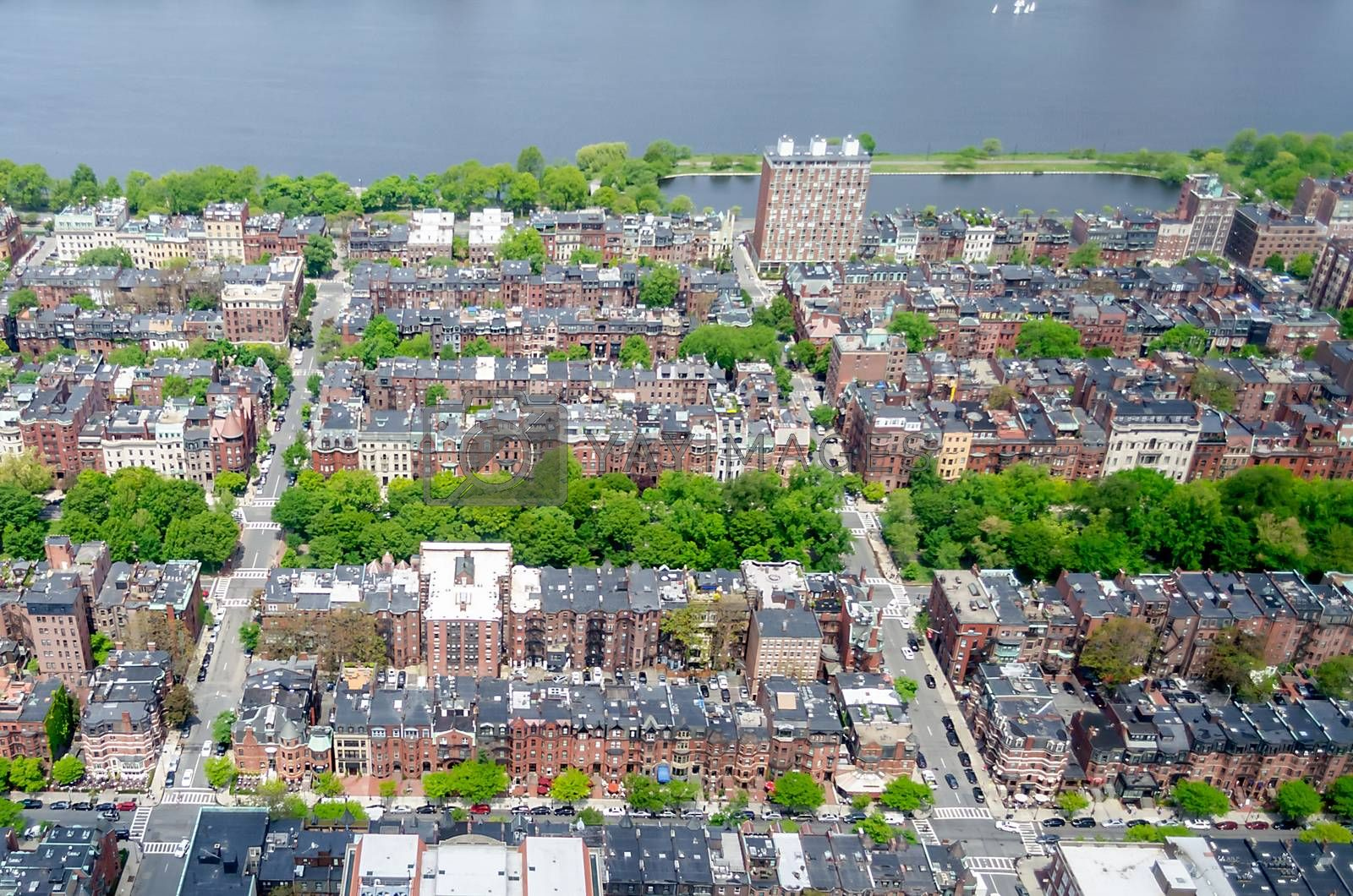 Aerial view of the Back Bay district, Boston, USA by Marco Rubino
