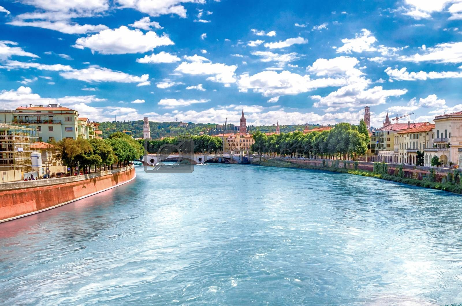 View Over Adige River in Verona, Italy by Marco Rubino