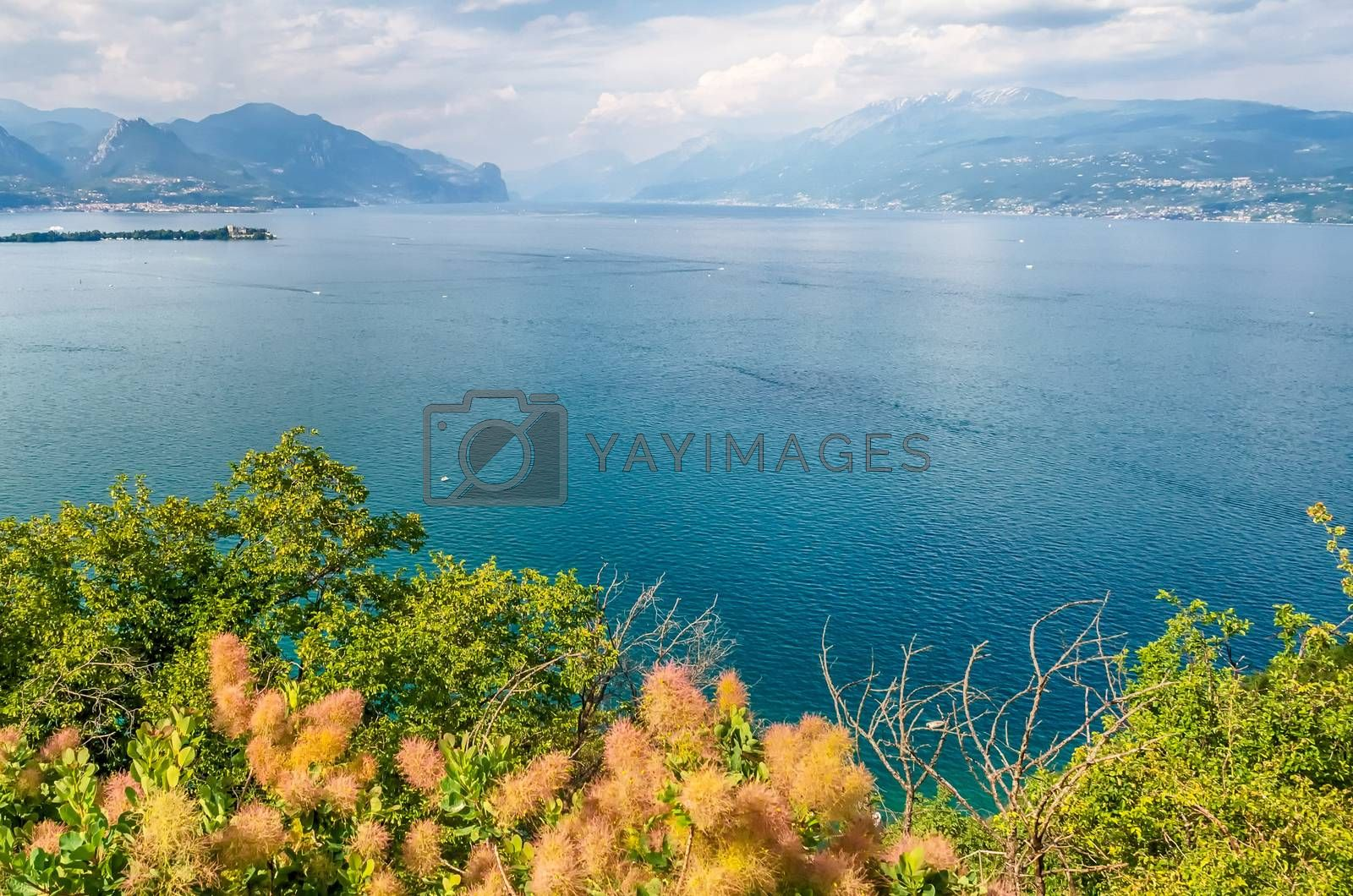 Panoramic aerial view from the Manerba Rock on Lake Garda, Italy