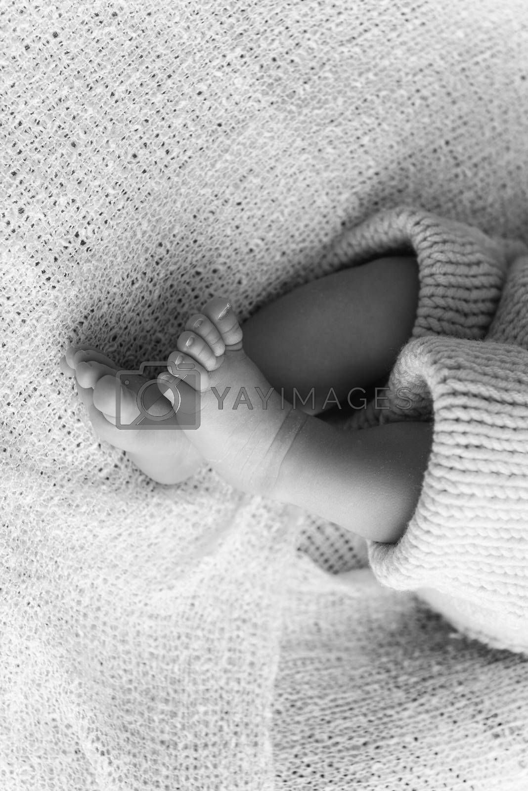 Closeup of a newborn baby feet with beautiful selective focus. Concept for maternity and tenderness