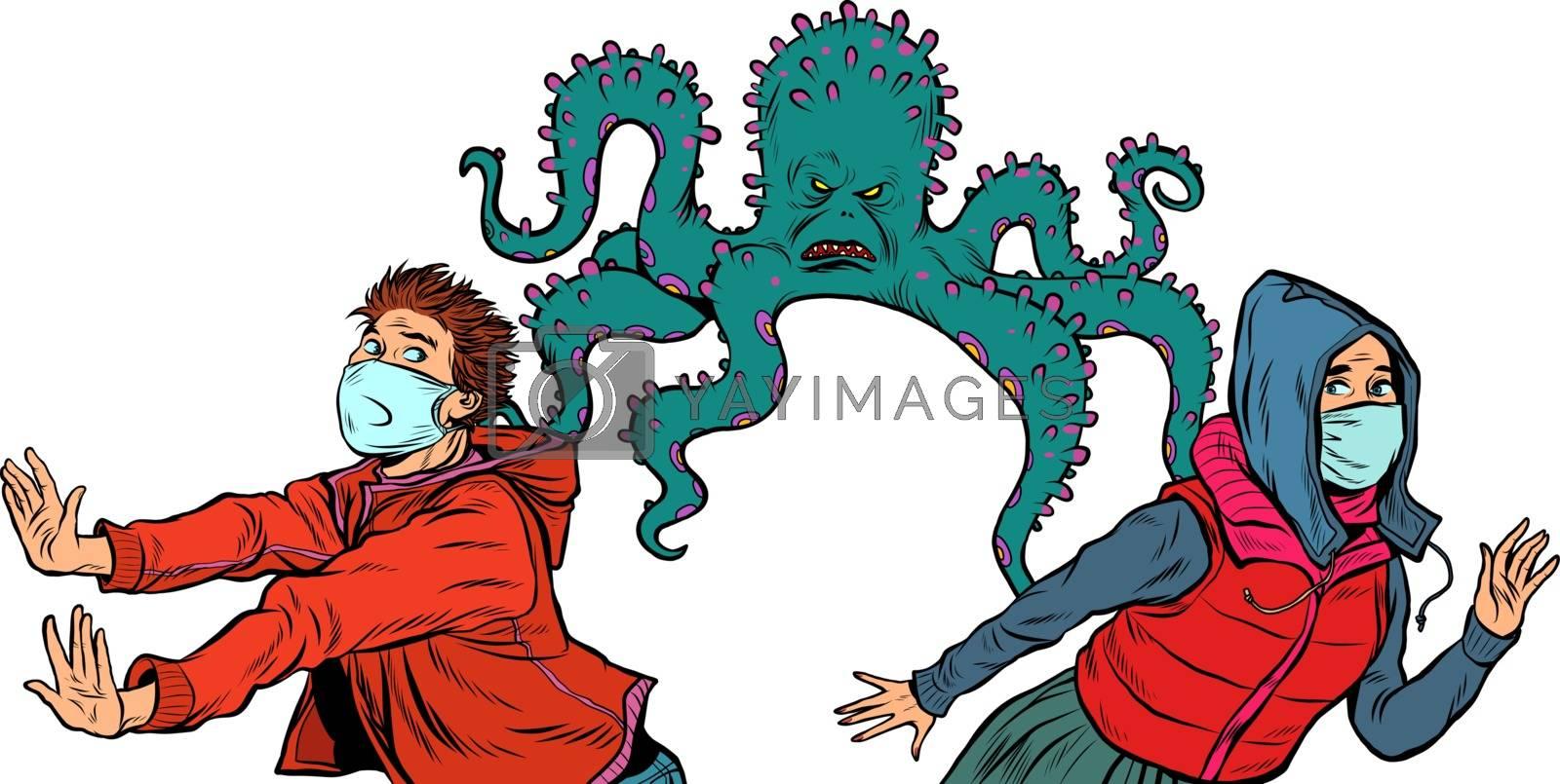 Royalty free image of people are afraid of an epidemic. pandemic epidemic coronavirus covid19. by studiostoks