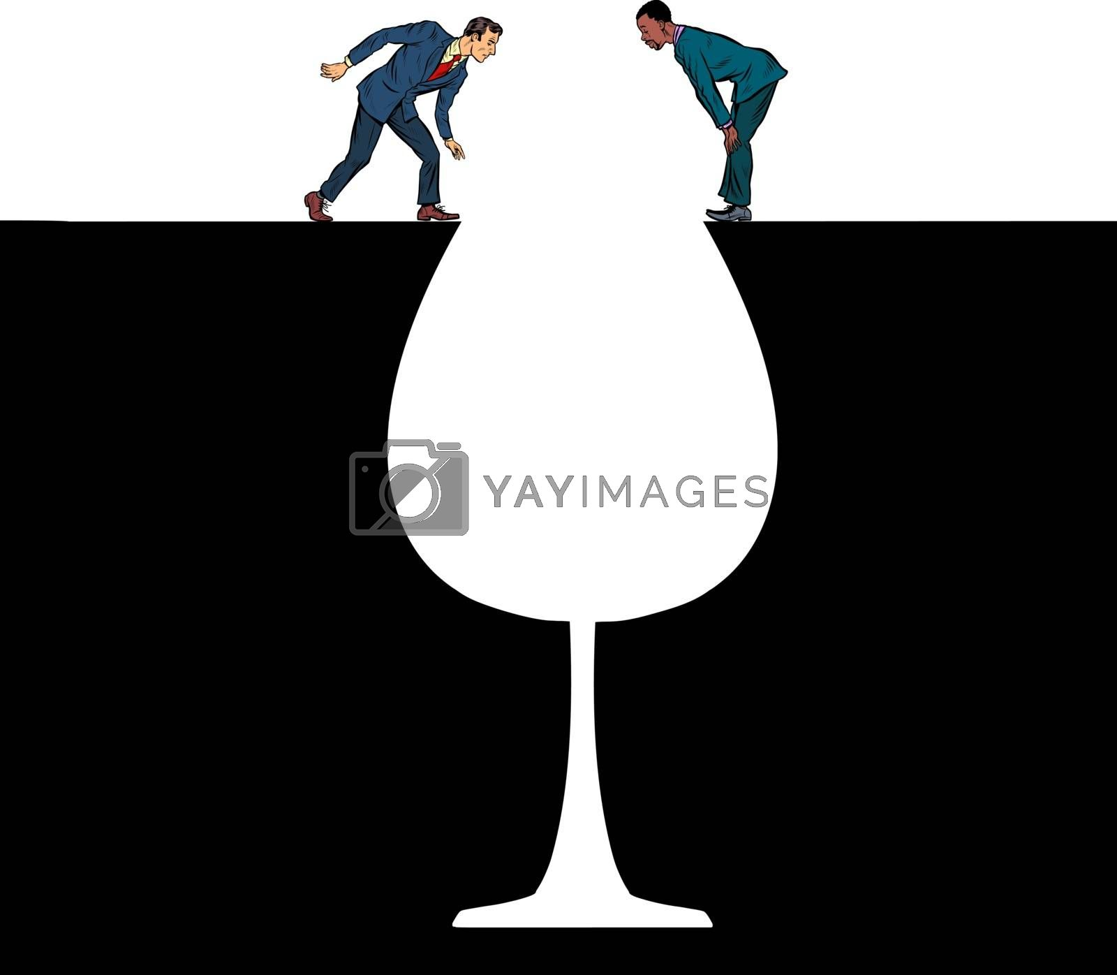 A glass of wine Men on the edge of alcoholism Pit silhouette. Pop art retro vector illustration 50s 60s style