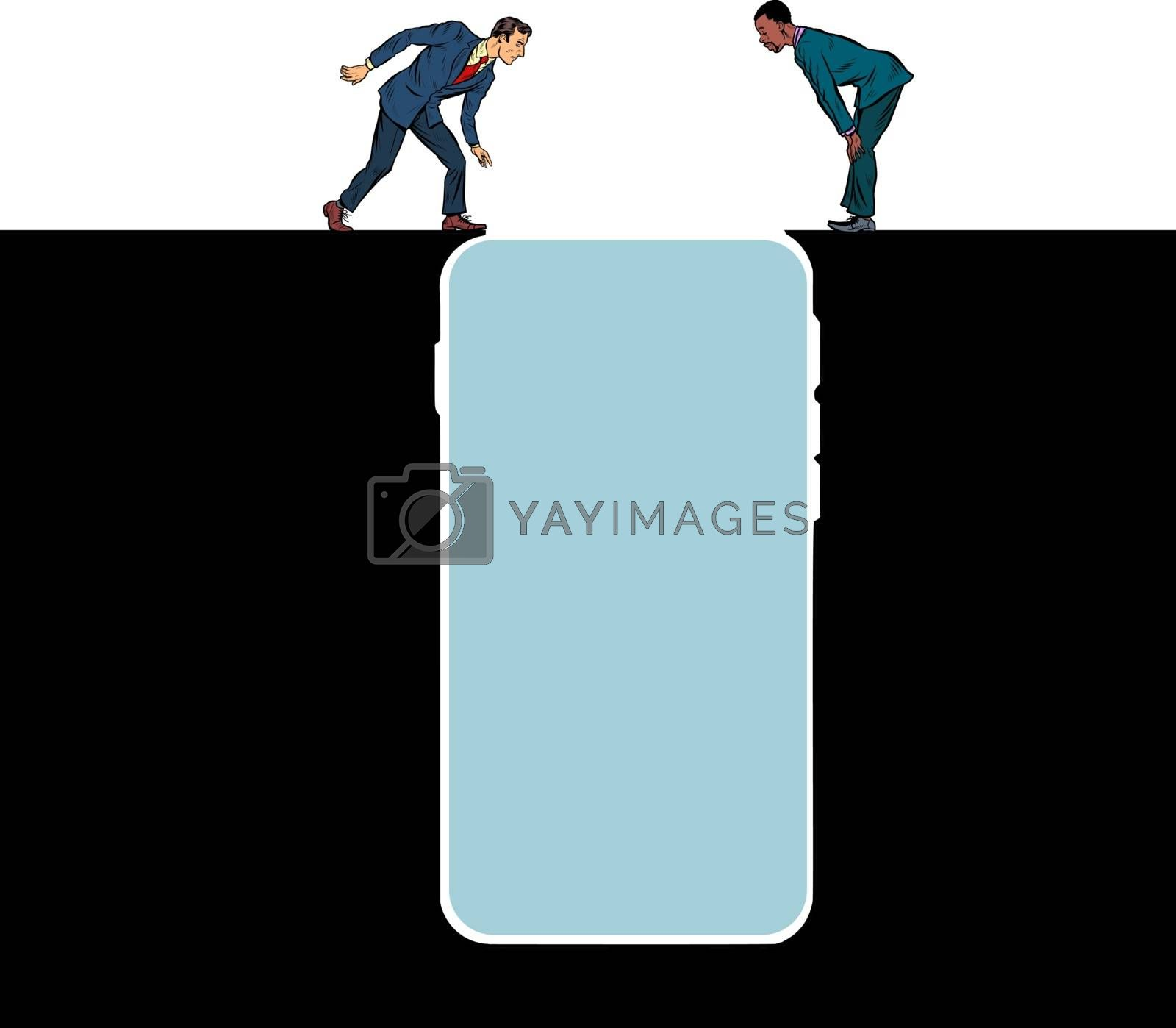 smartphone gadget Internet addiction. People on the edge of a precipice. Pit silhouette. Pop art retro vector illustration 50s 60s style