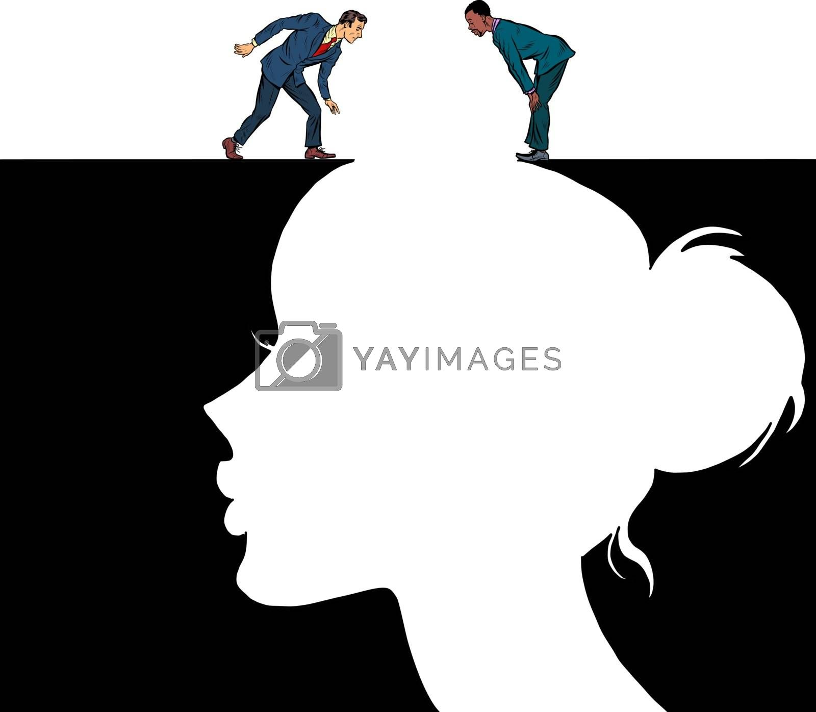 Male and female consciousness. Pit silhouette. Pop art retro vector illustration 50s 60s style