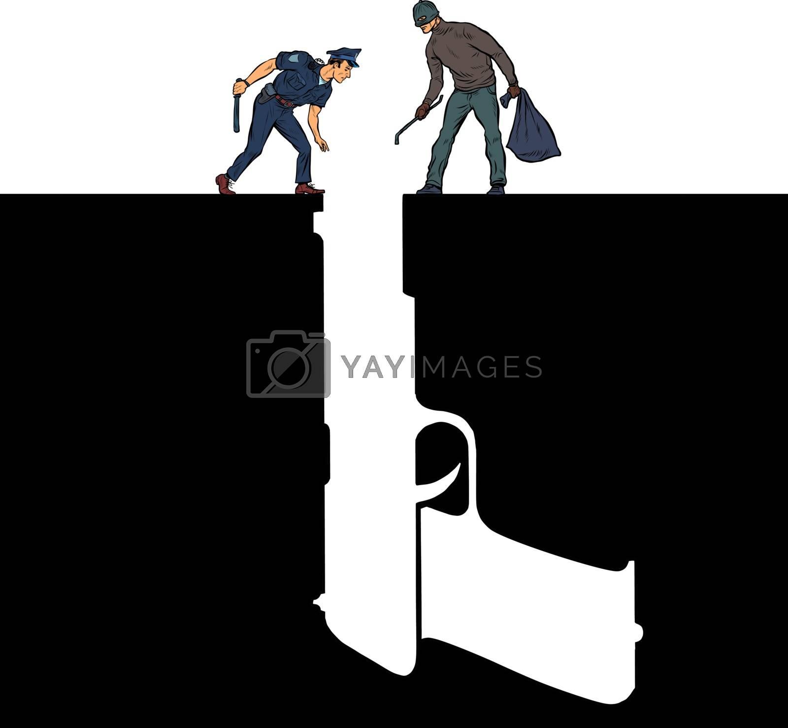 Gun police criminal crime detective. Pit silhouette. Pop art retro vector illustration 50s 60s style