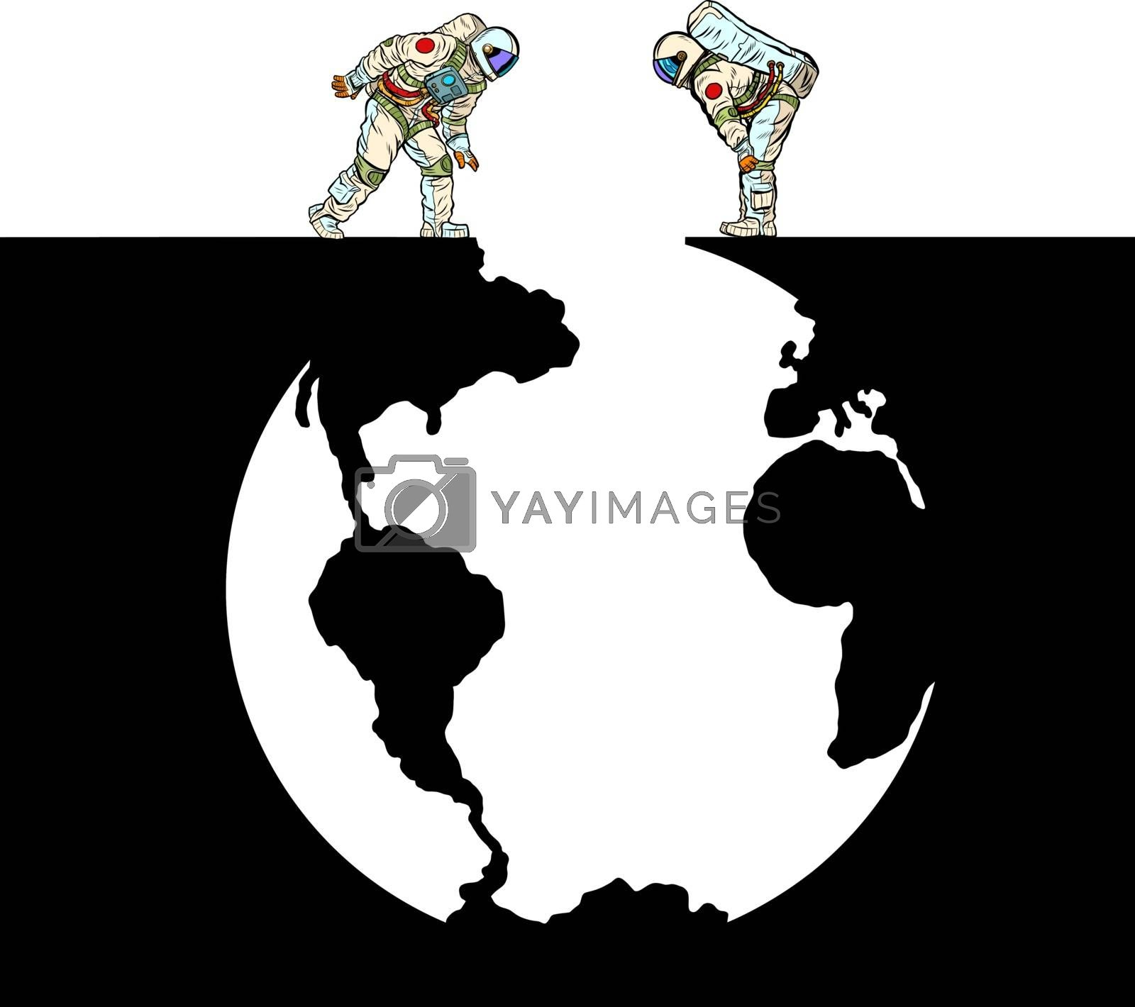 Astronauts and Planet Earth. Pit silhouette. Pop art retro vector illustration 50s 60s style