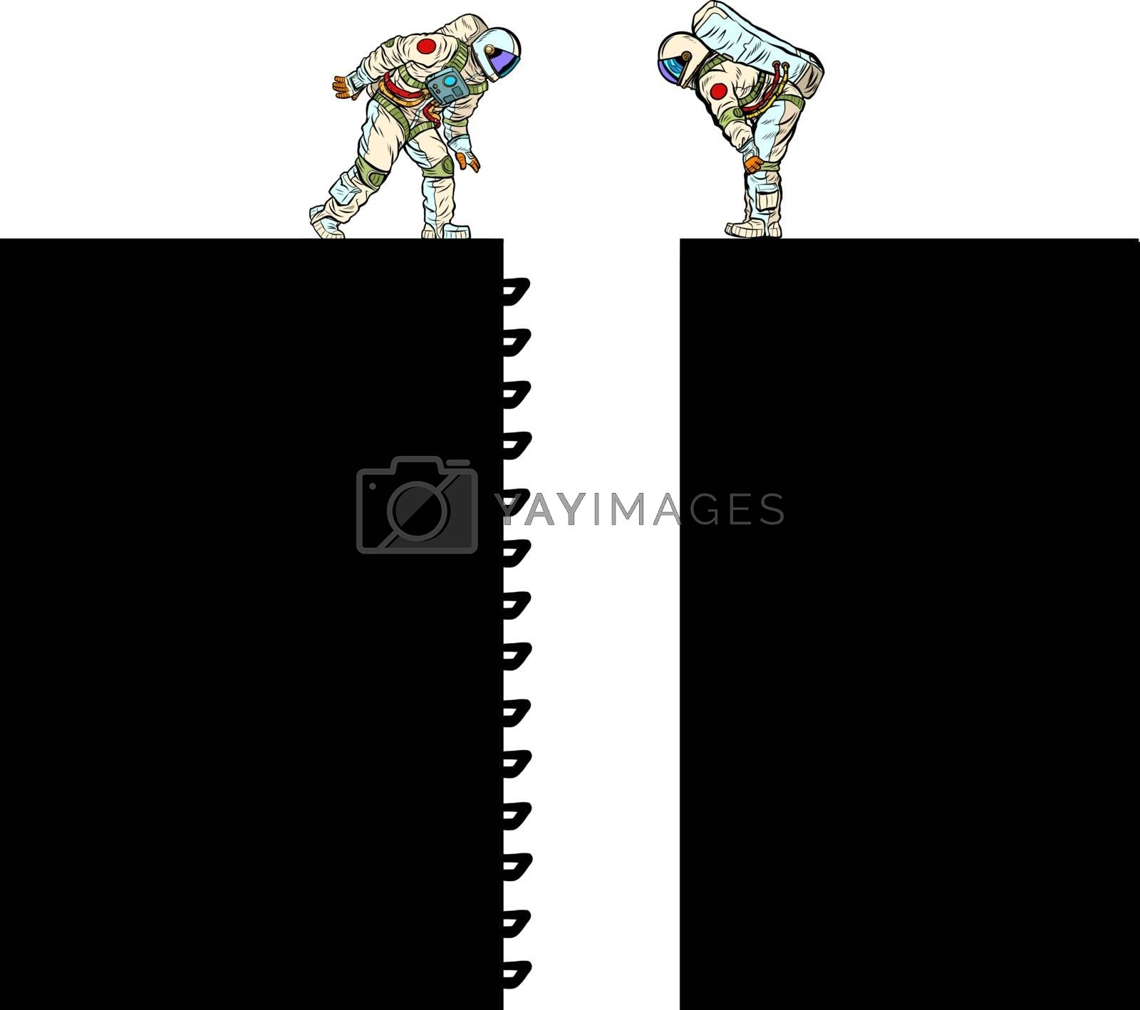 Astronauts and ladder Scientific research. Pit silhouette. Pop art retro vector illustration 50s 60s style