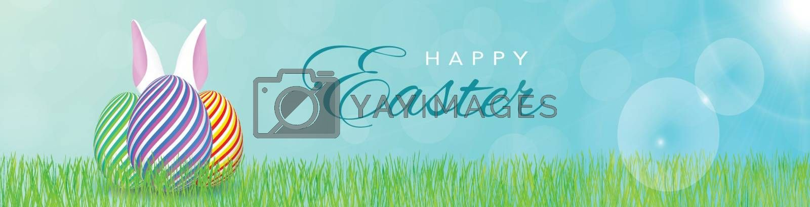 Holiday banner with sunshine. White bunny ears behind the striped eggs in the grass. Greeting text in the middle. Bokeh effect in the background.