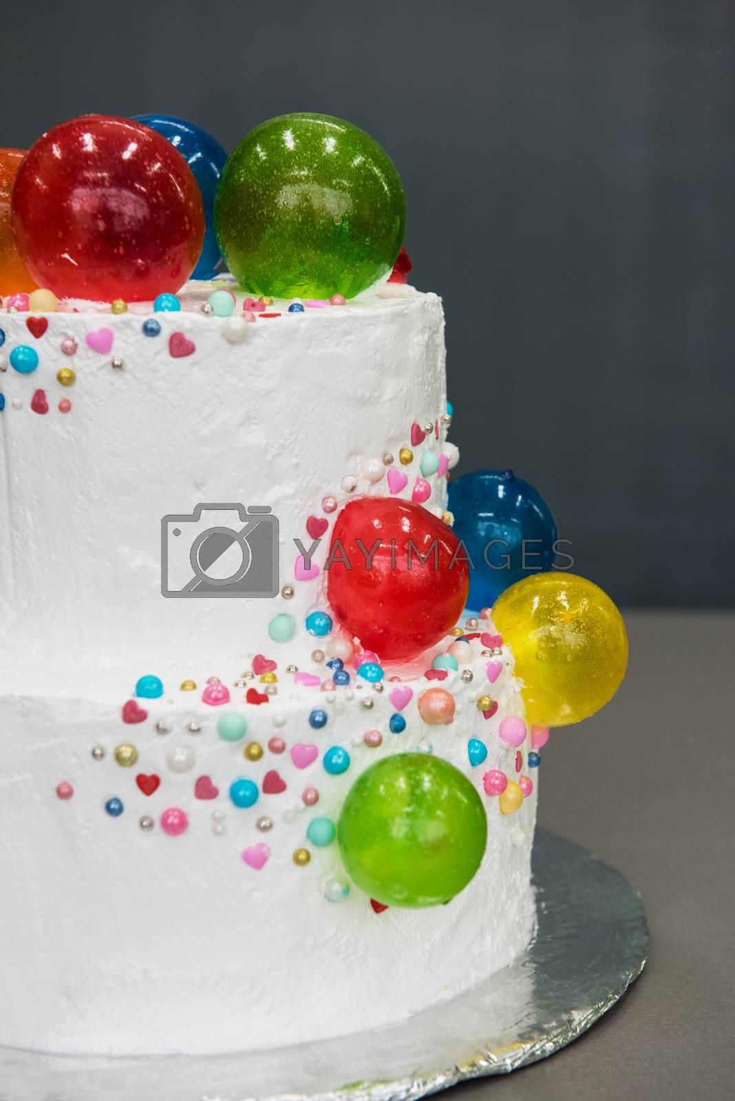 Wedding cake on table by rusak