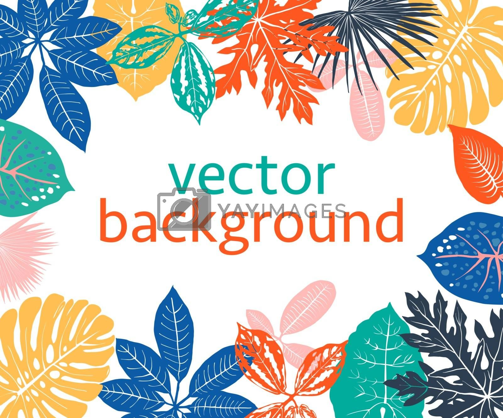 Background with exotic plants and leaves with copy space for text. Backdrop for greeting cards, posters, banners and placards Exotic botanical design.