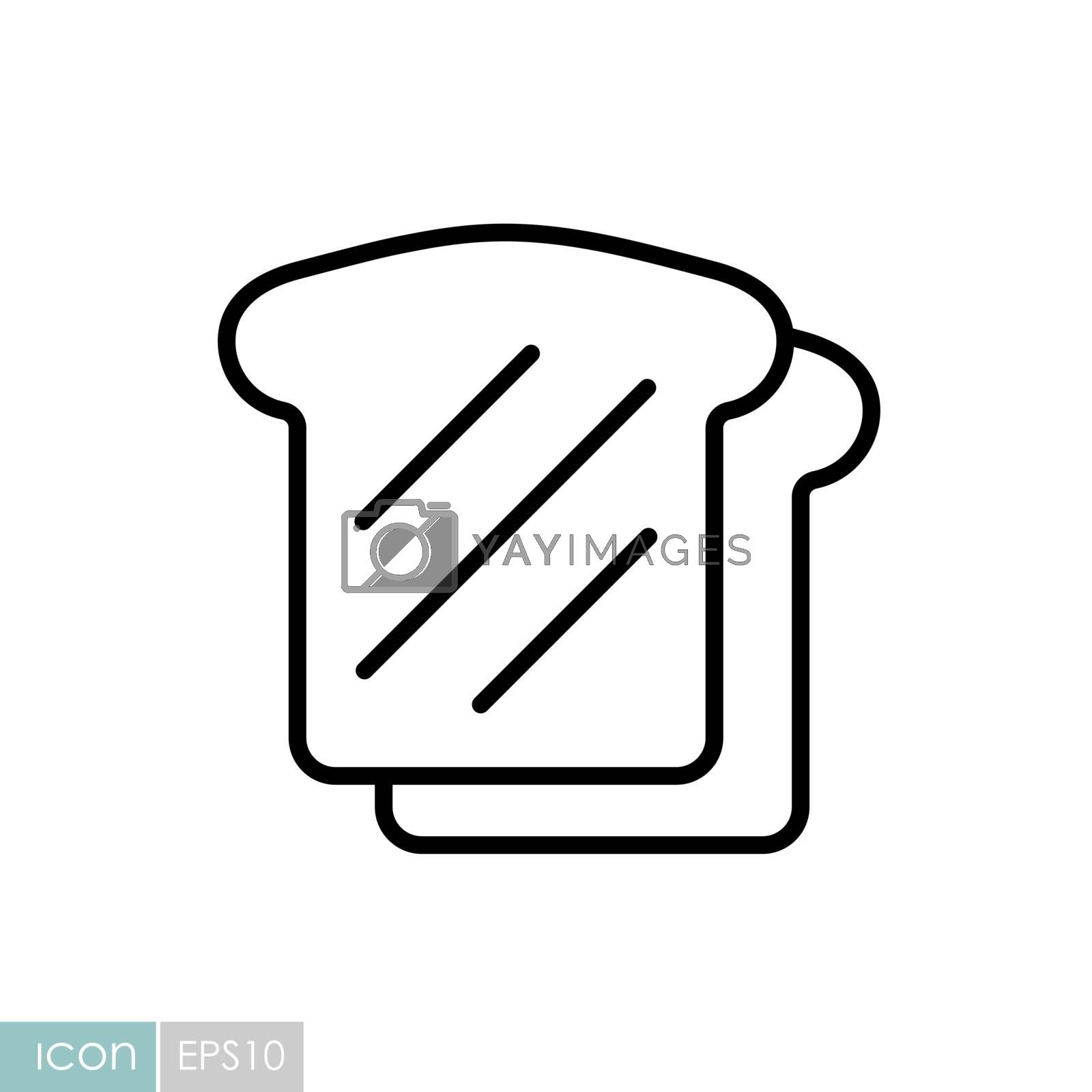 Bread, Toast vector icon. Fast food sign. Graph symbol for cooking web site and apps design, logo, app, UI