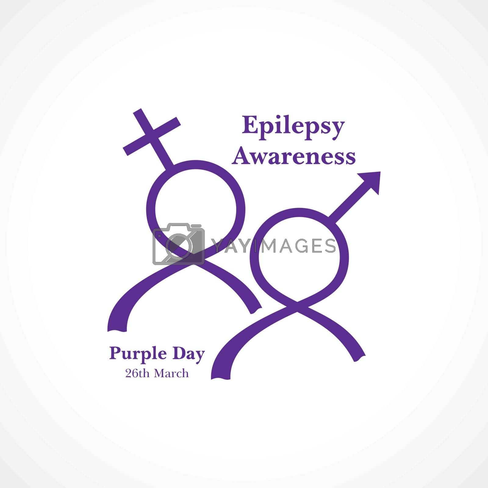 Vector illustration for World epilepsy day (Purple day) - Epilepsy Awareness-26 march. Purple ribbon.