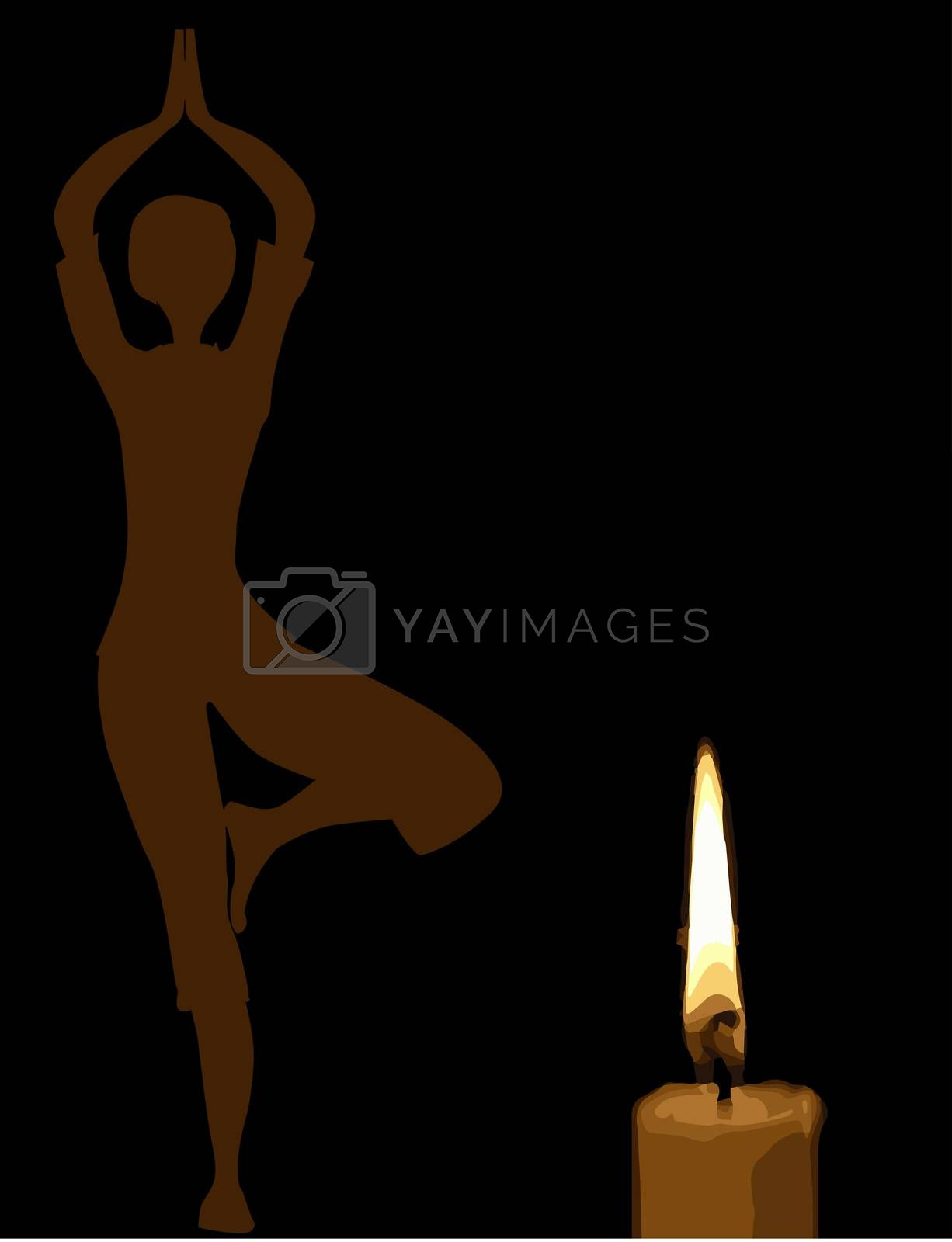 A yoga practitioner behind a flickering candle