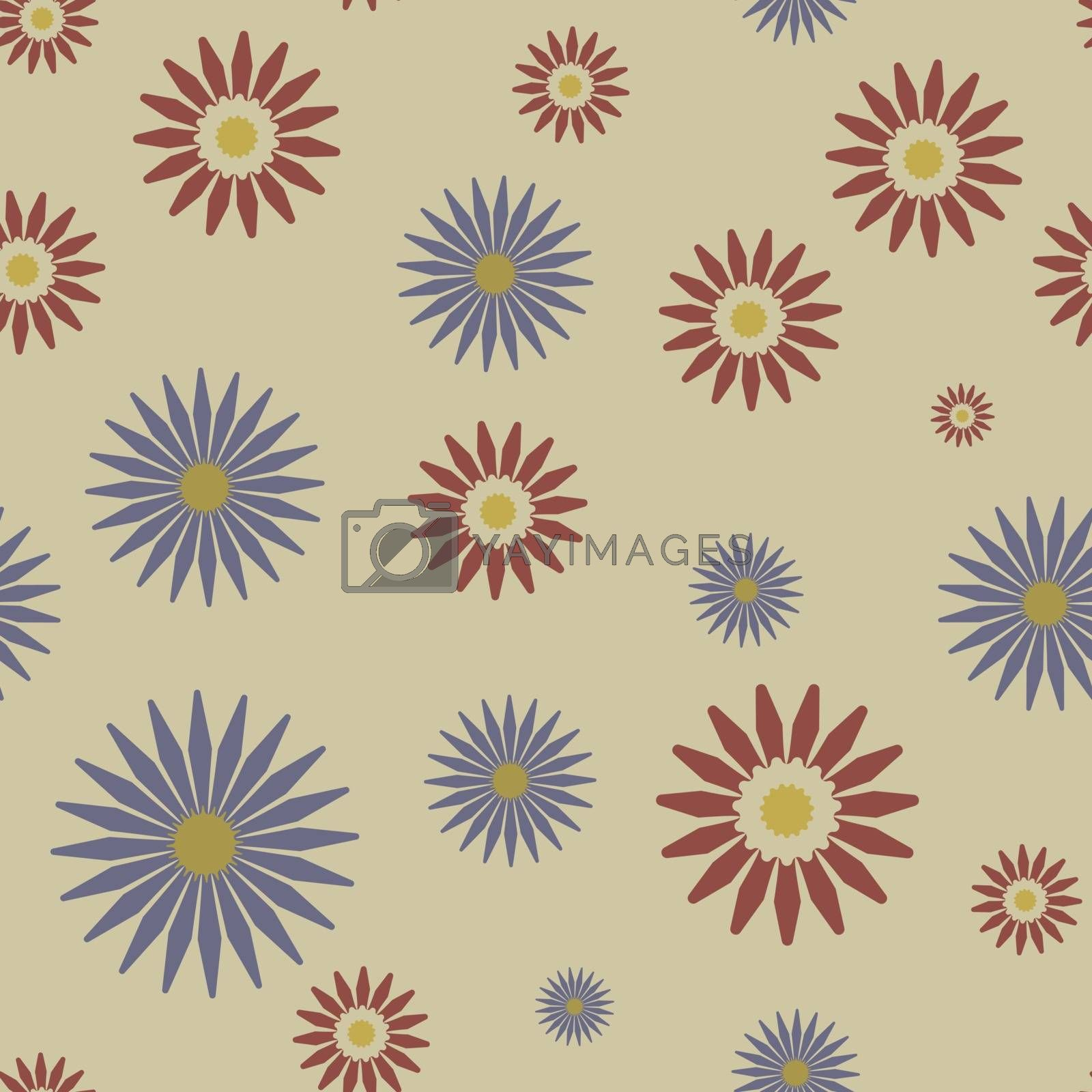 Cute abstract colorful seamless pattern with simple red and blue flowers on beige background