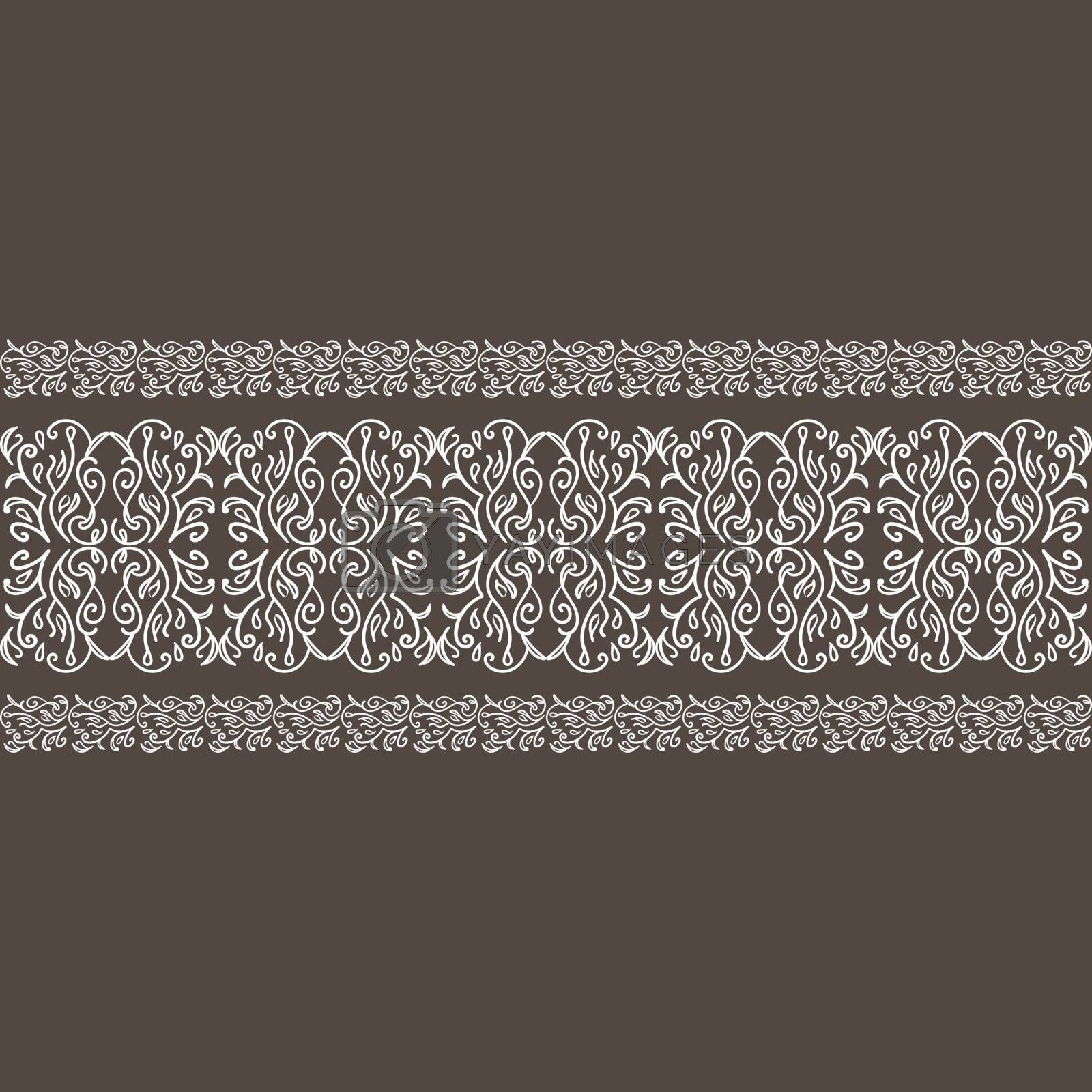 White seamless lace ornament with elegant floral tracery on dark brown background