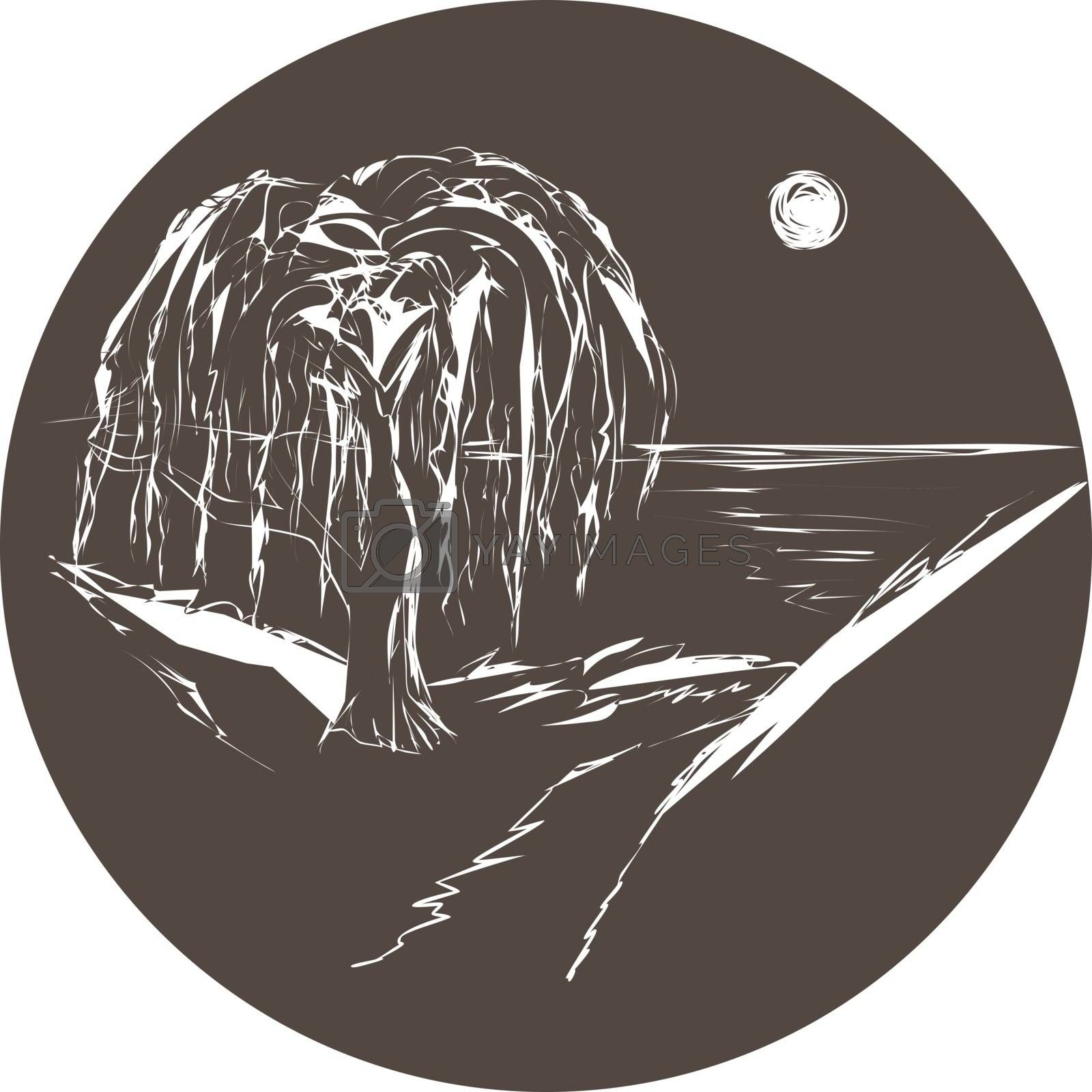 Dark brown circle with white drawn night landscape with willow and lake