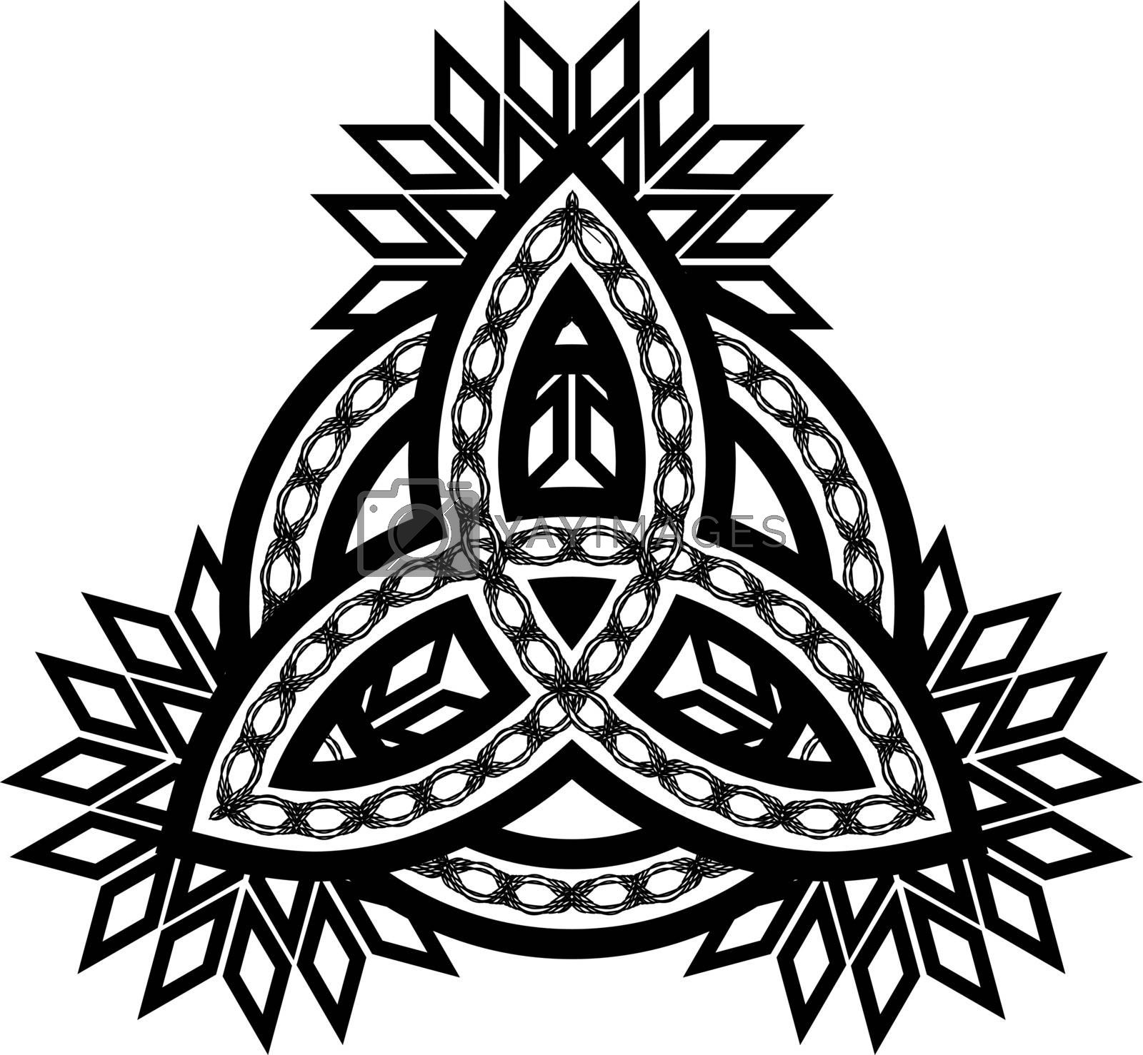 Black and white celtic pagan symbol triquetra with tribal ornament and abstract flowers