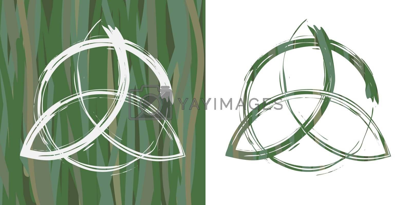 Two options of drawn contour celtic pagan symbol triquetra on grass background