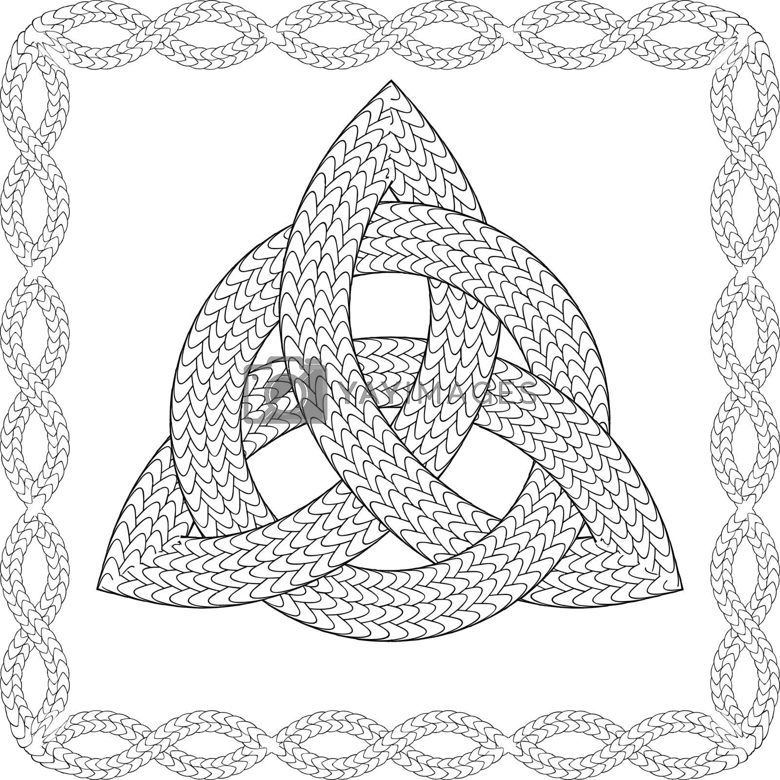 Black and white rope entwined celtic pagan symbol triquetra in knotted frame