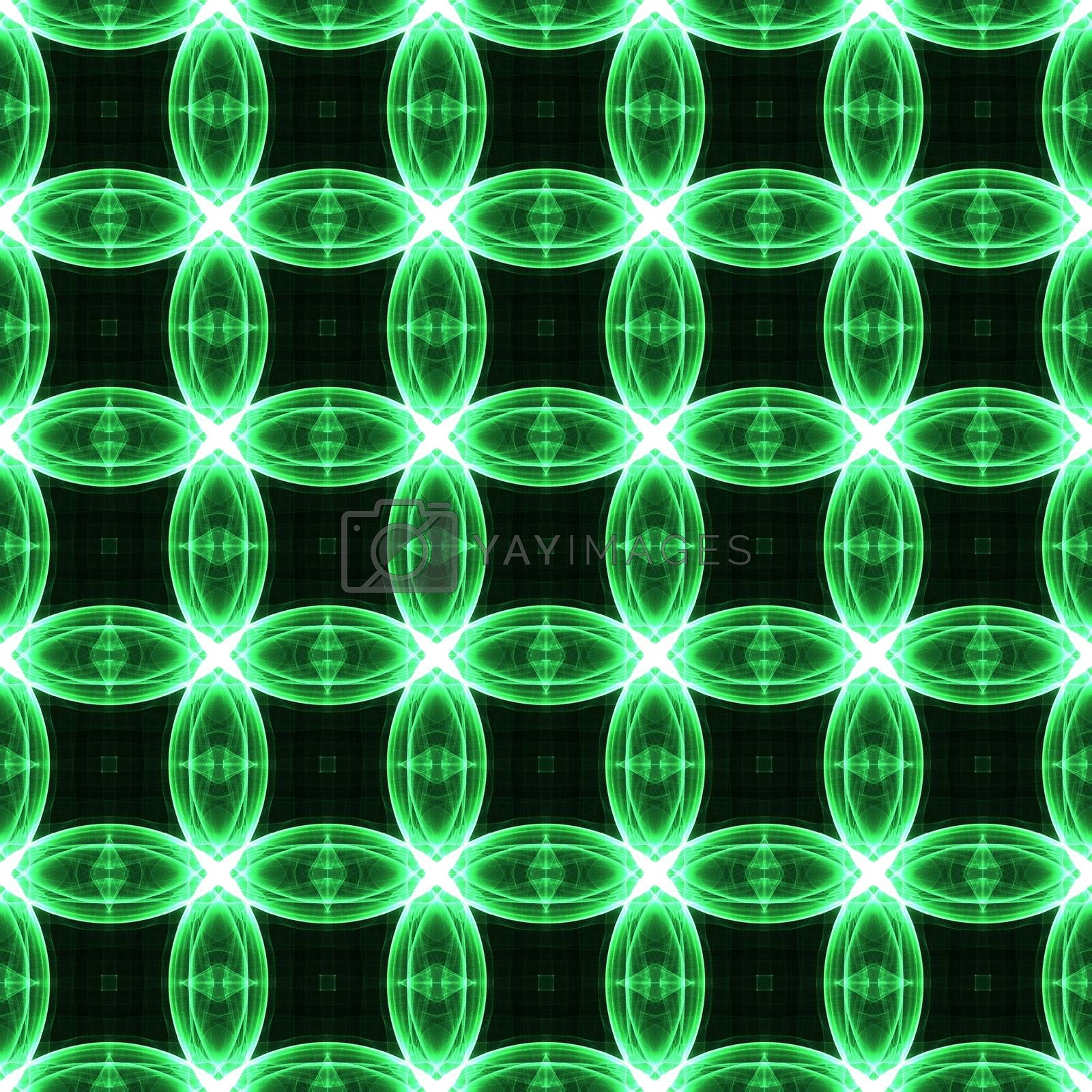 Drawing of Fractal seamless pattern in green colors