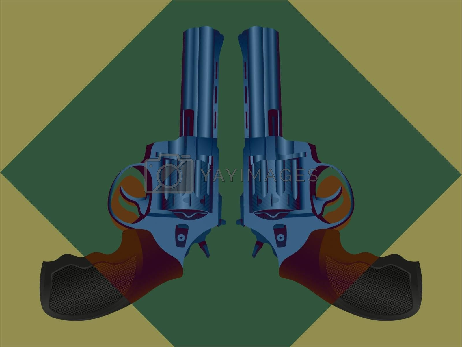Illustration of two symmetric colorful realistic steel revolvers in green rhombus