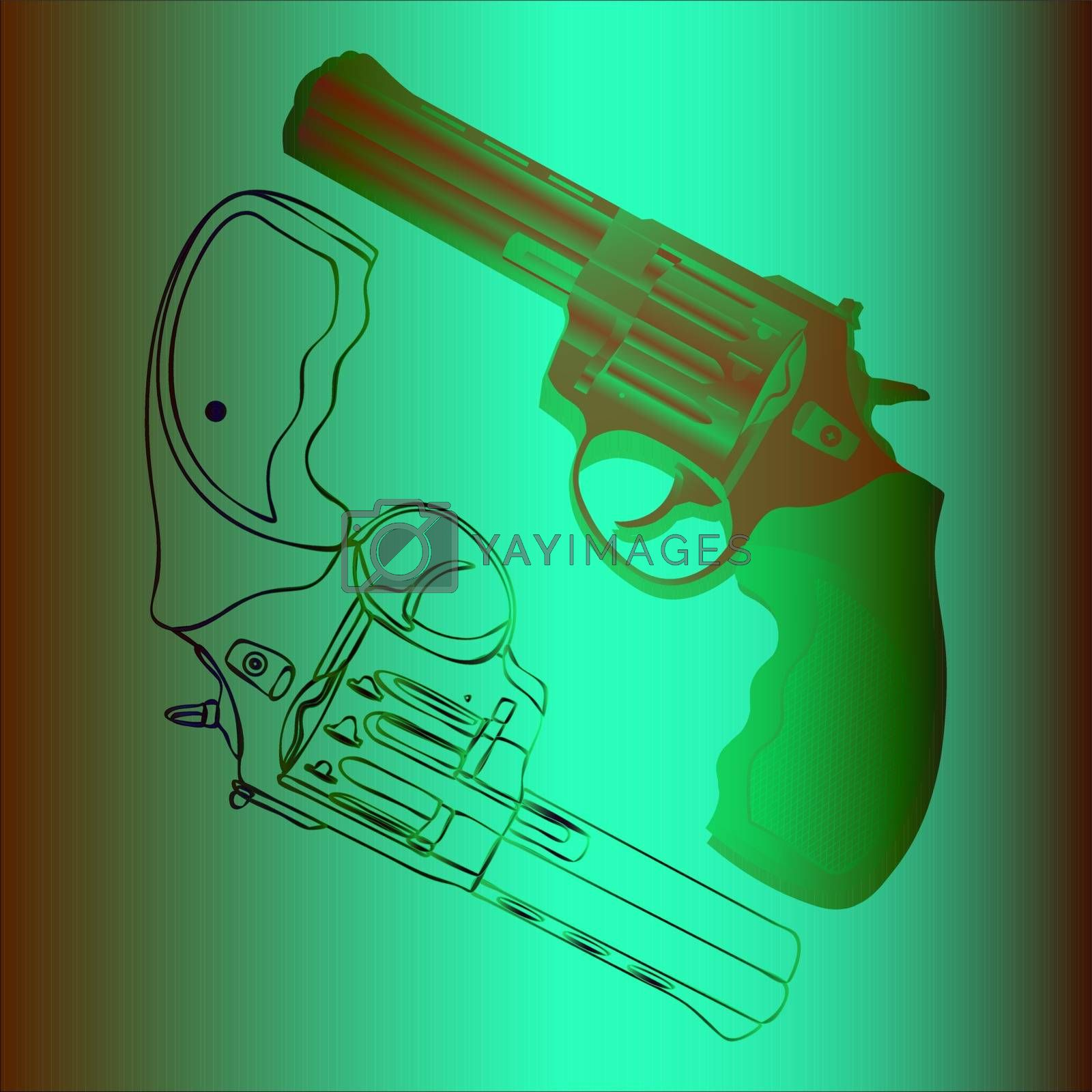Illustration of two bright contour and realistic revolvers in negative colors