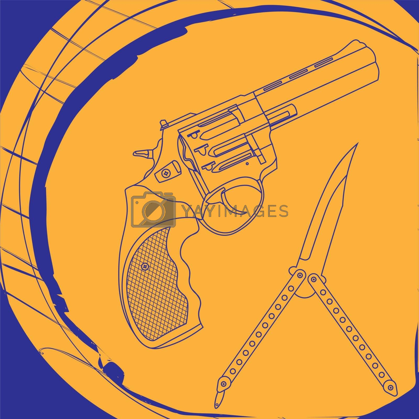 Contour illustration with revolver and butterfly knife on bright blue and orange background