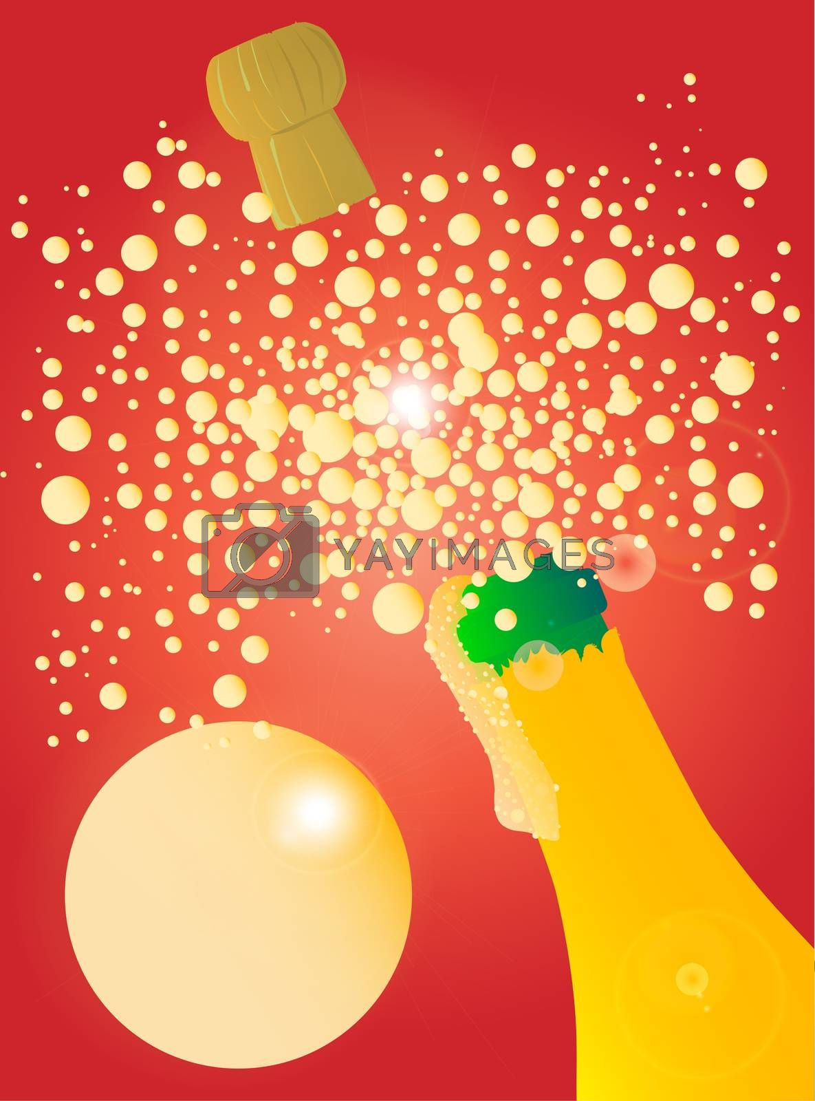 A celebration bottle being opened with froth and bubbles with one large bubble