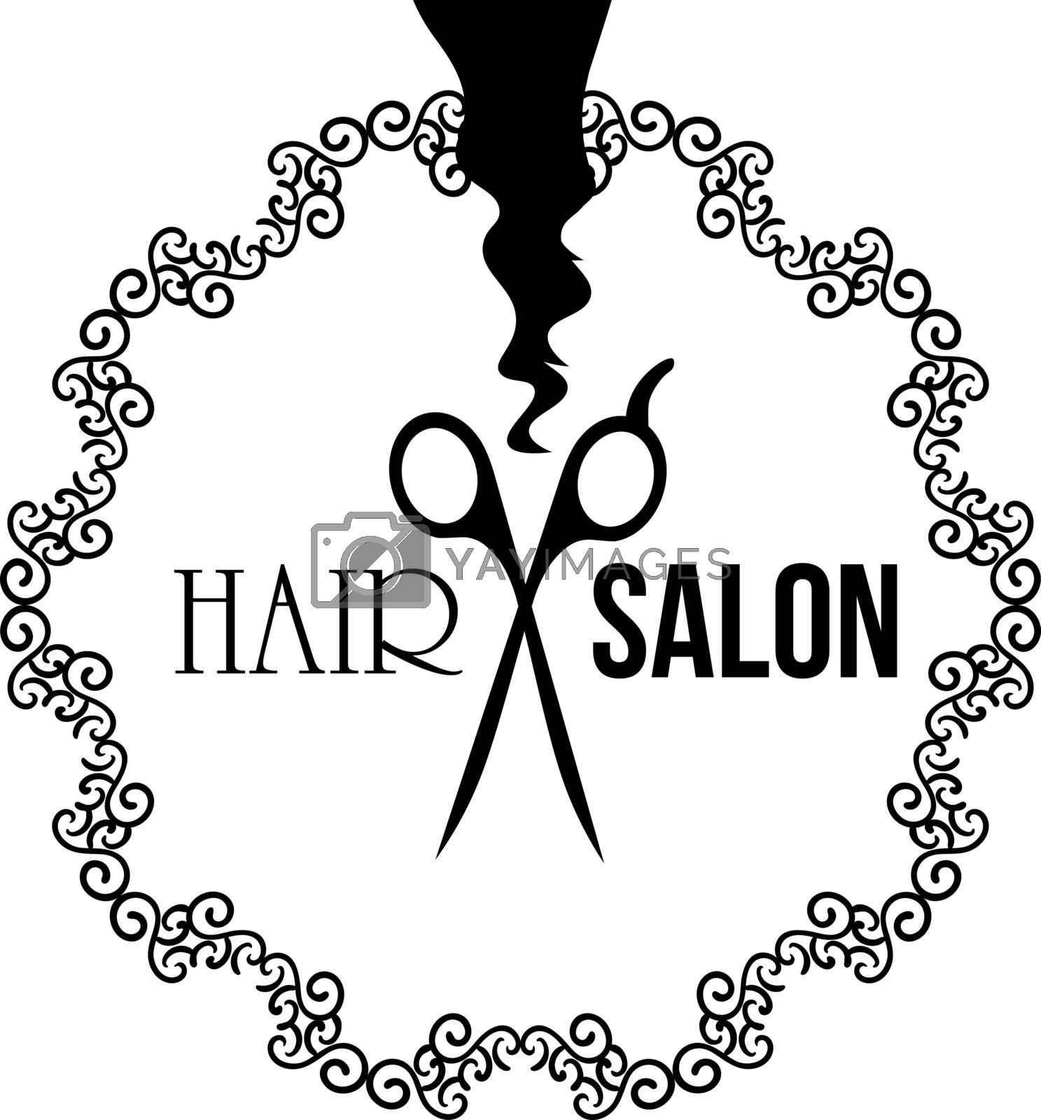 Sign or emblem for hair salon with strand of hair and scissors in ornamented frame