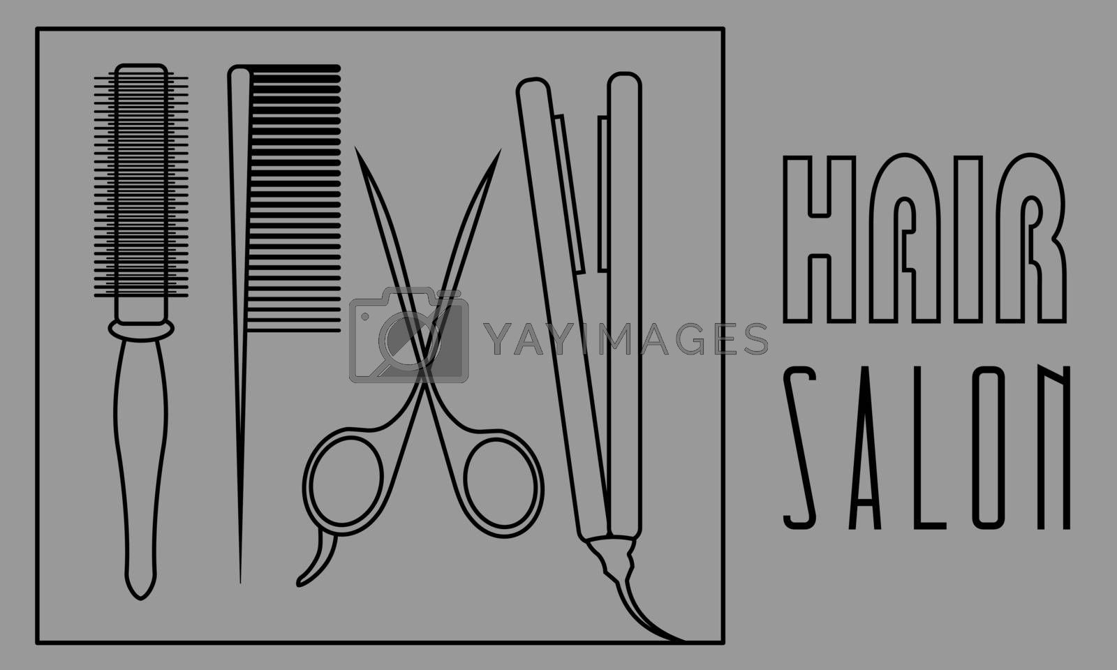 Set of four black contour barber tools on grey background: round comb, hairbrush, scissors and hair iron
