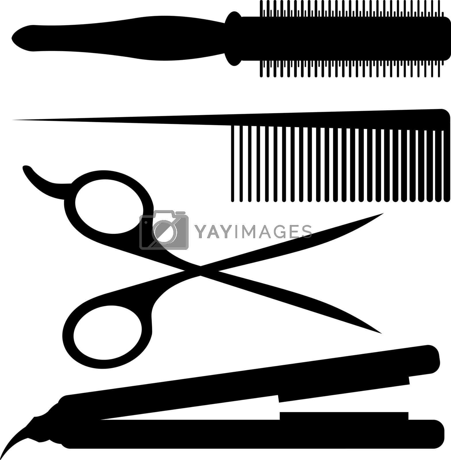 Black silhouettes of four barber tools: round comb, hairbrush, scissors and hair iron