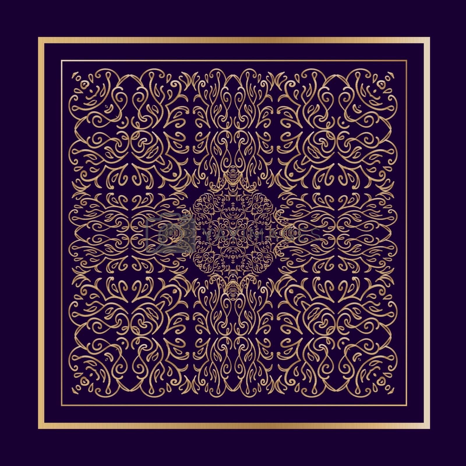 Beautiful filigree golden ornamented square in eastern style on dark purple background