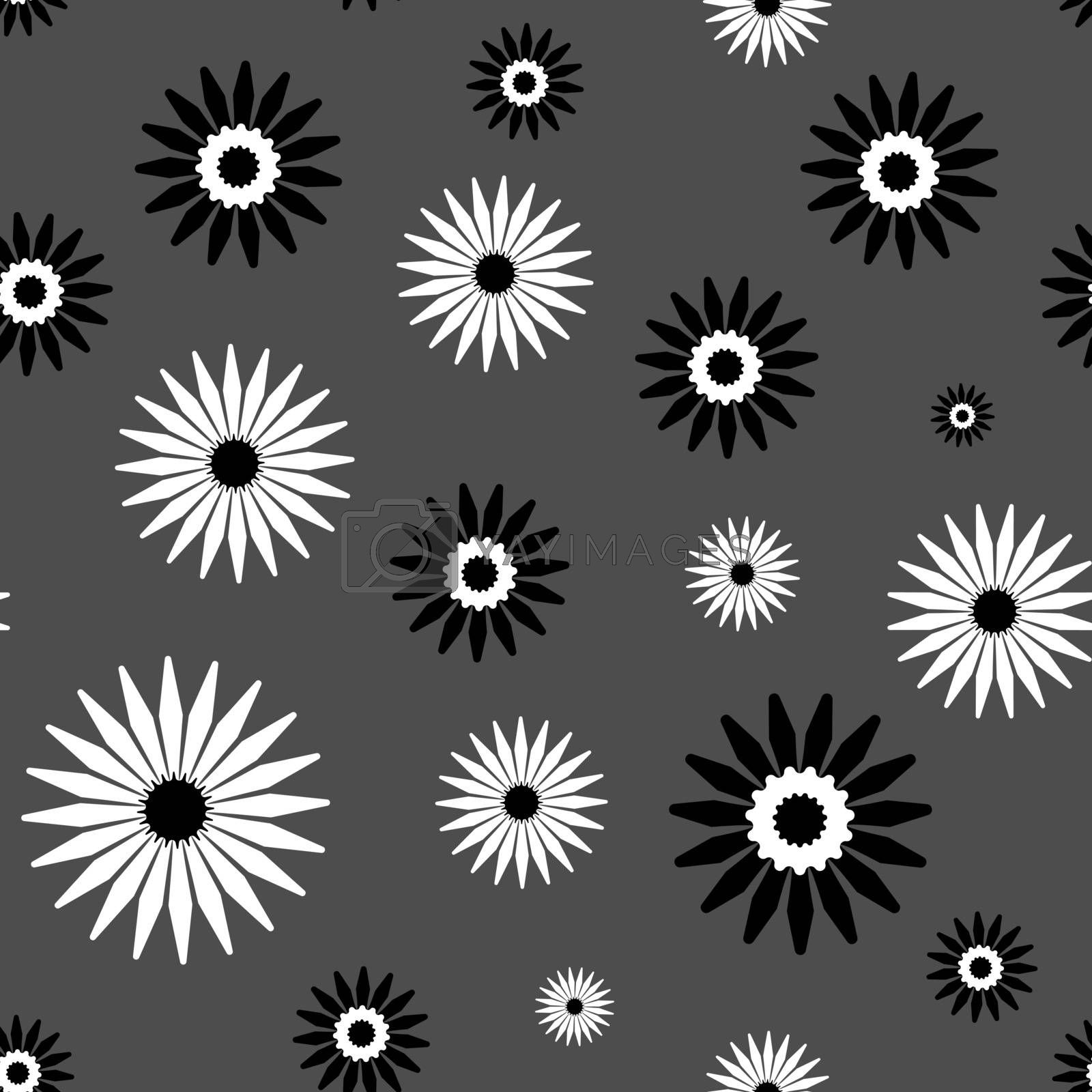 Cute abstract monochrome seamless pattern with simple black and white flowers on grey background