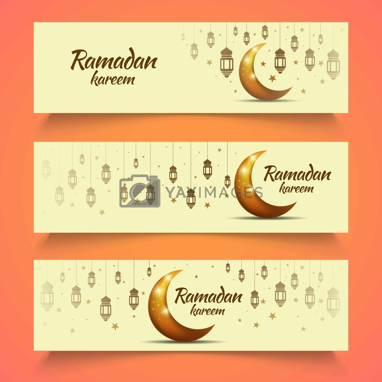3 Set of Banners for Ramadan Preparation with a Shining Moon Design, lanterns and stars.