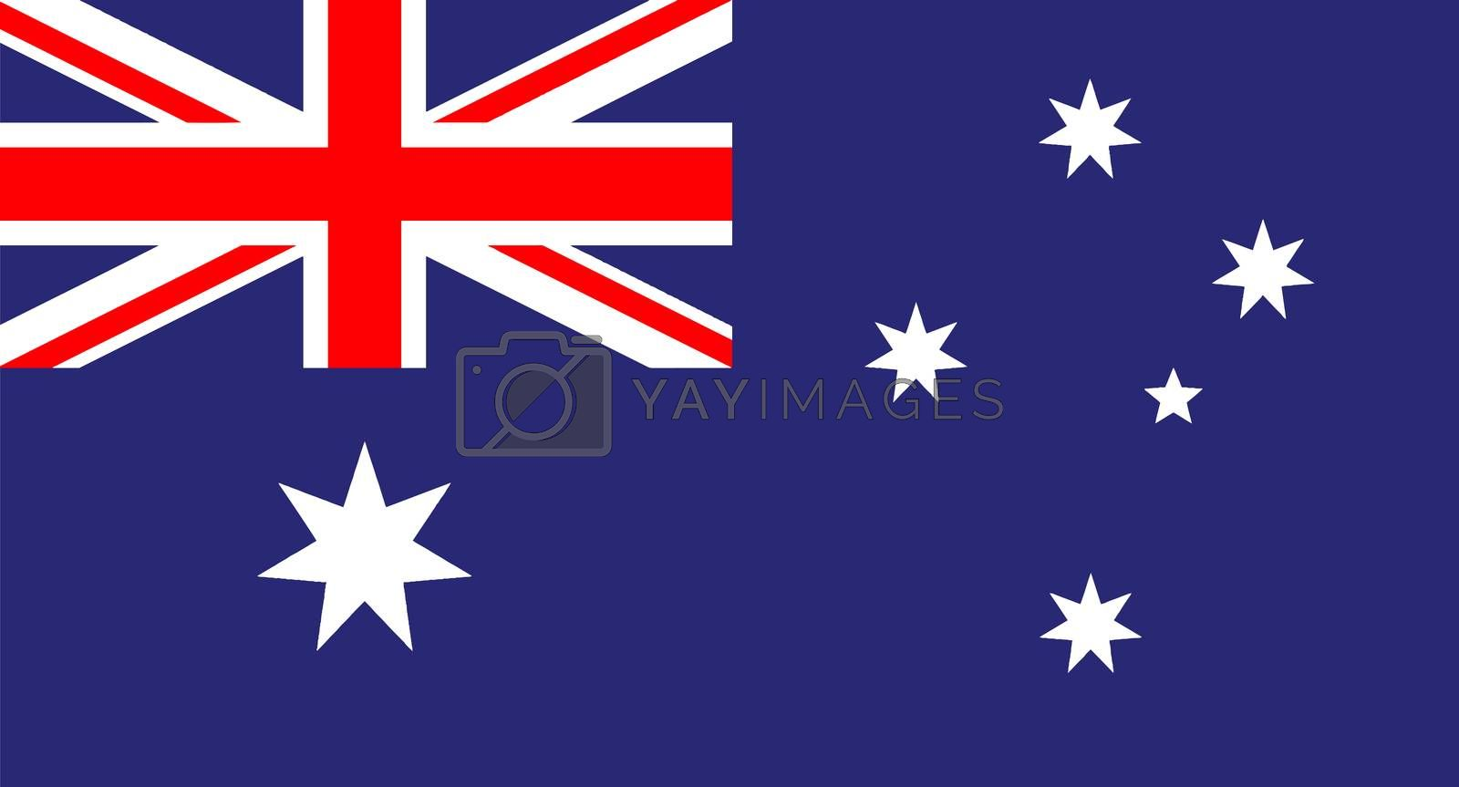 The flag of Australia red white and blue
