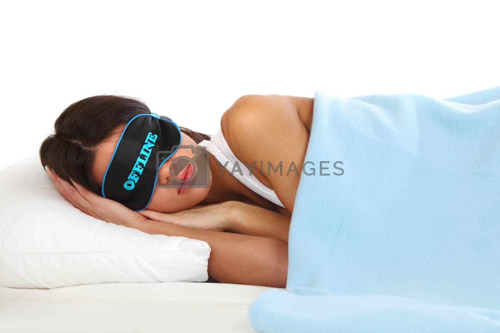 offline beauty woman sleep on the pillow isolated on white